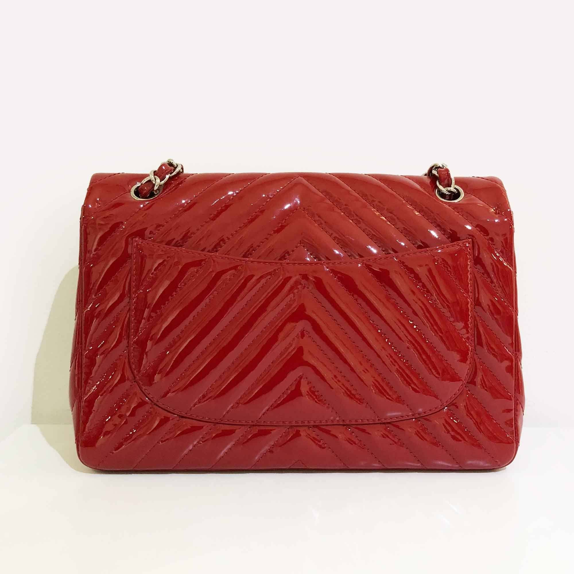 Chanel Dark Red Chevron Jumbo Flap Bag