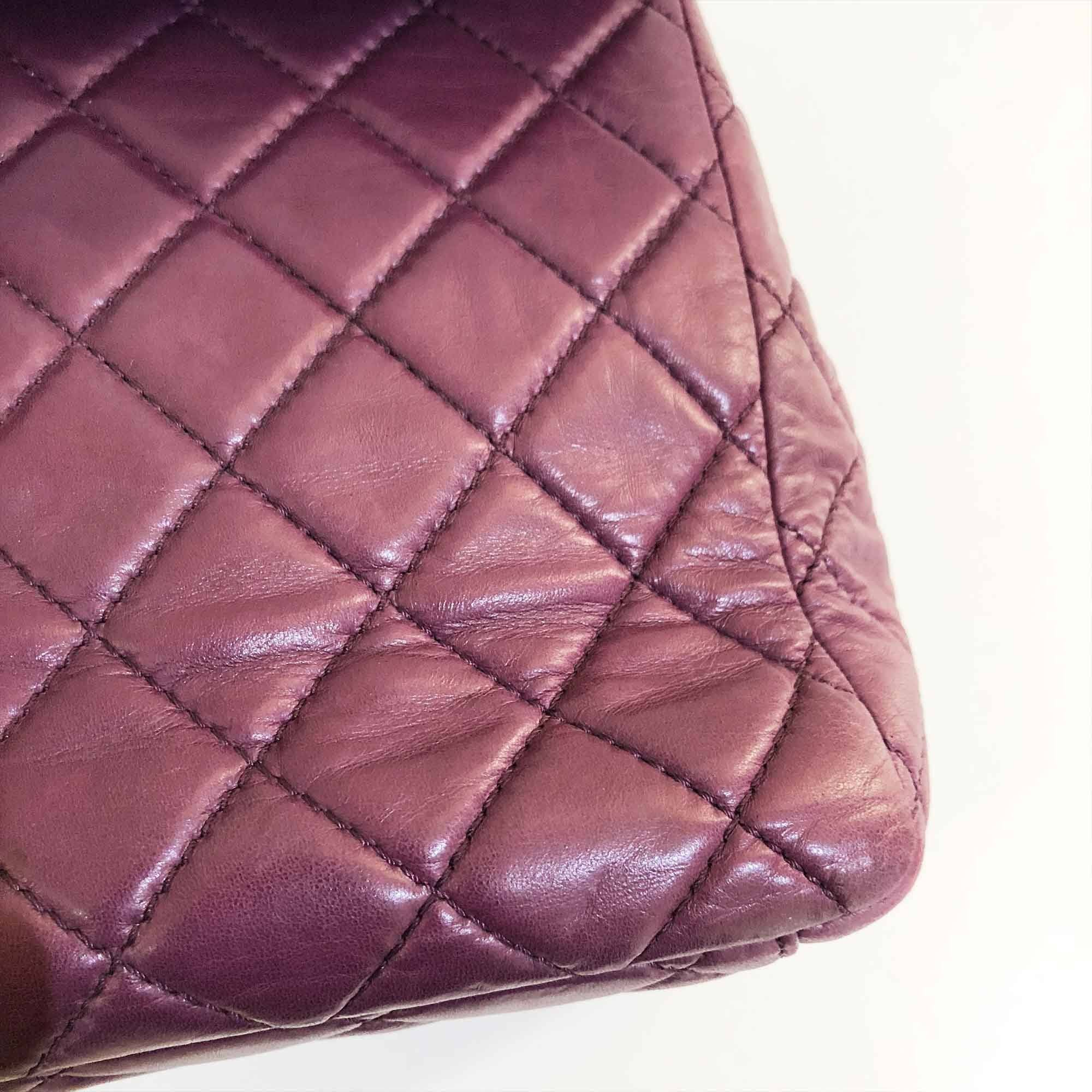 Chanel Lambskin Leather Purple Large Flap Blag