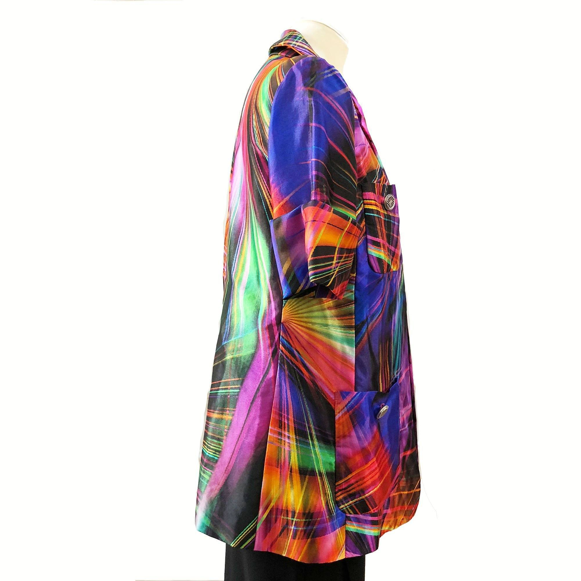 Chanel Geometric Printed Multicolor Silk Jacket