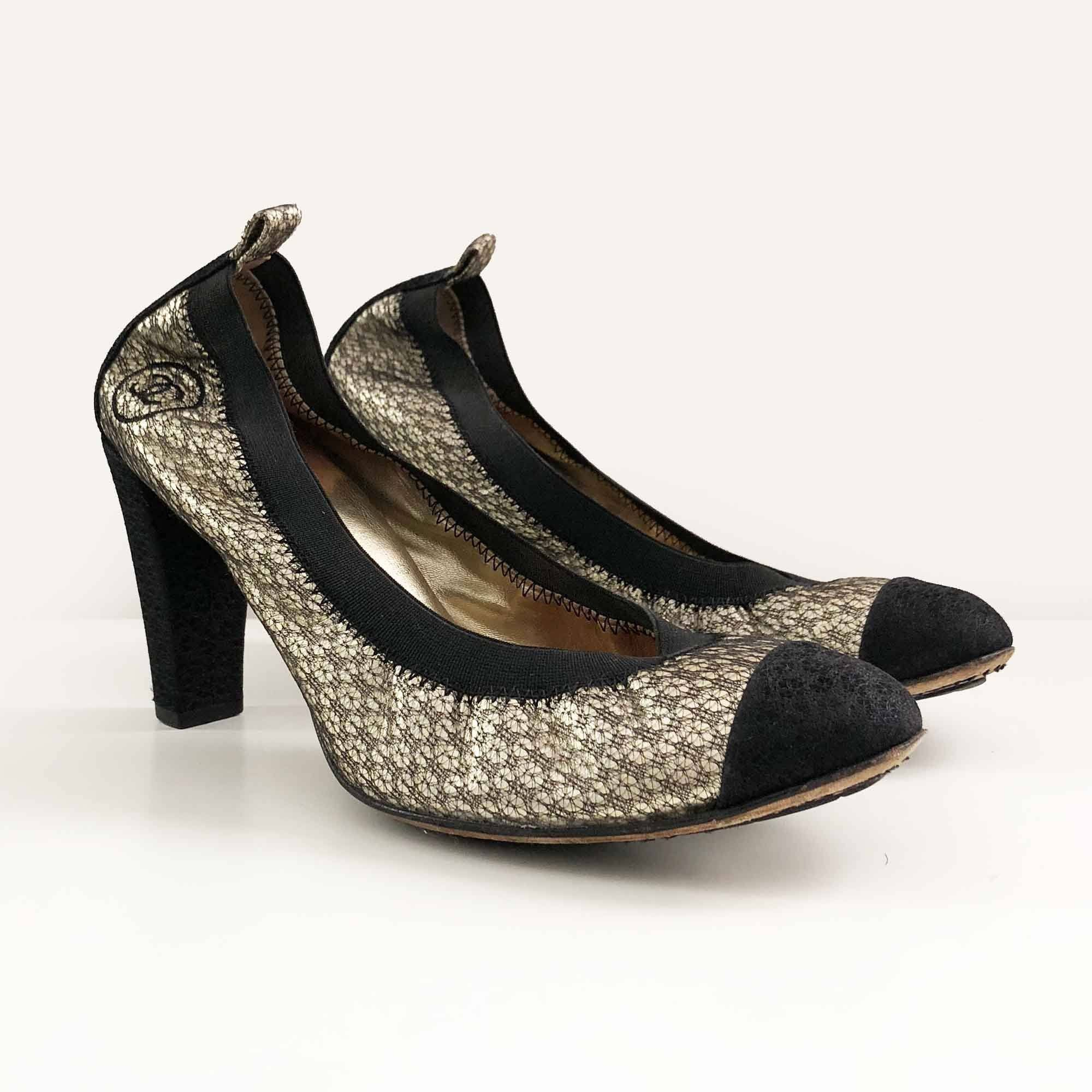 Chanel Metallic Leather and Mesh Ballerina Pumps
