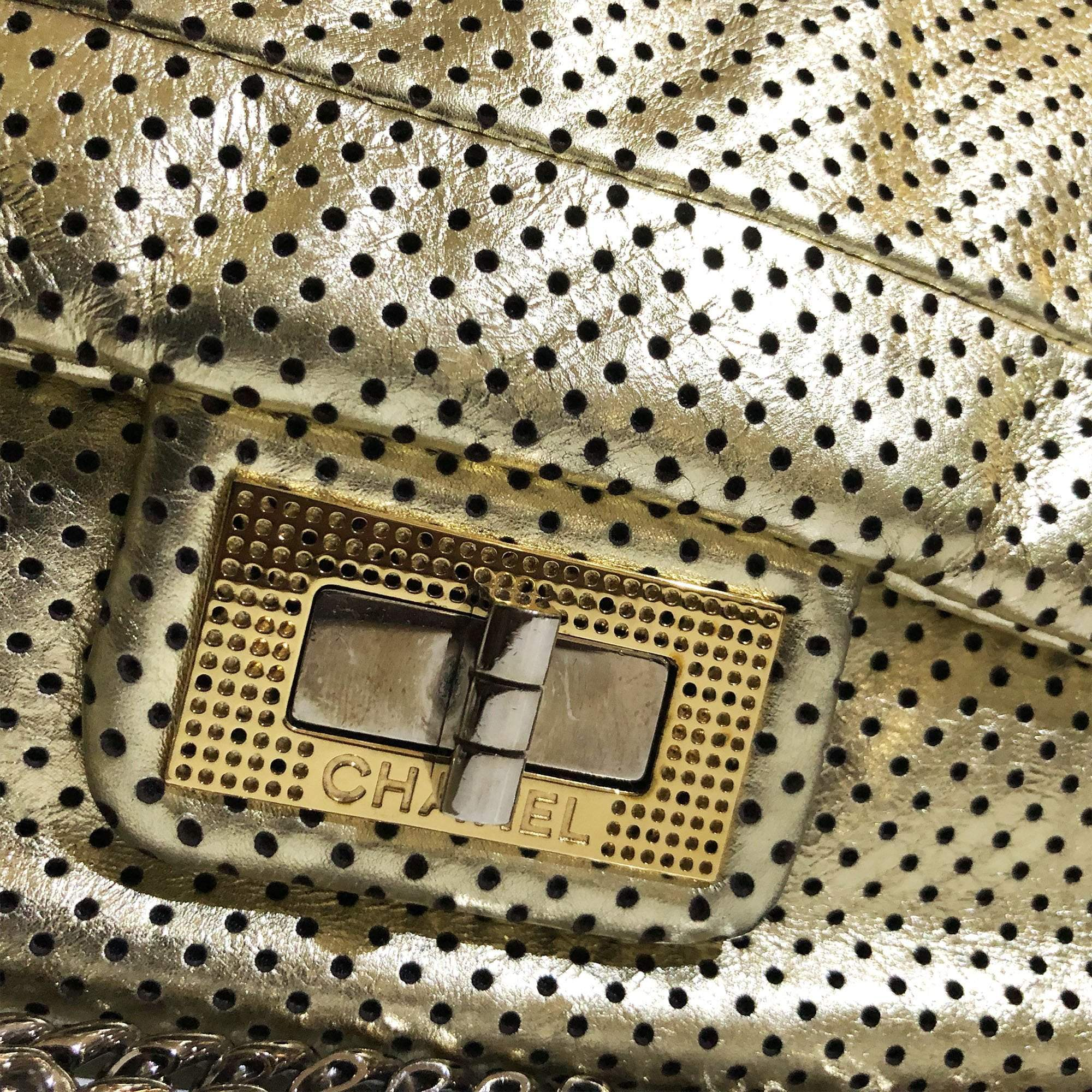 Chanel Gold Perforated Leather Flap Bag