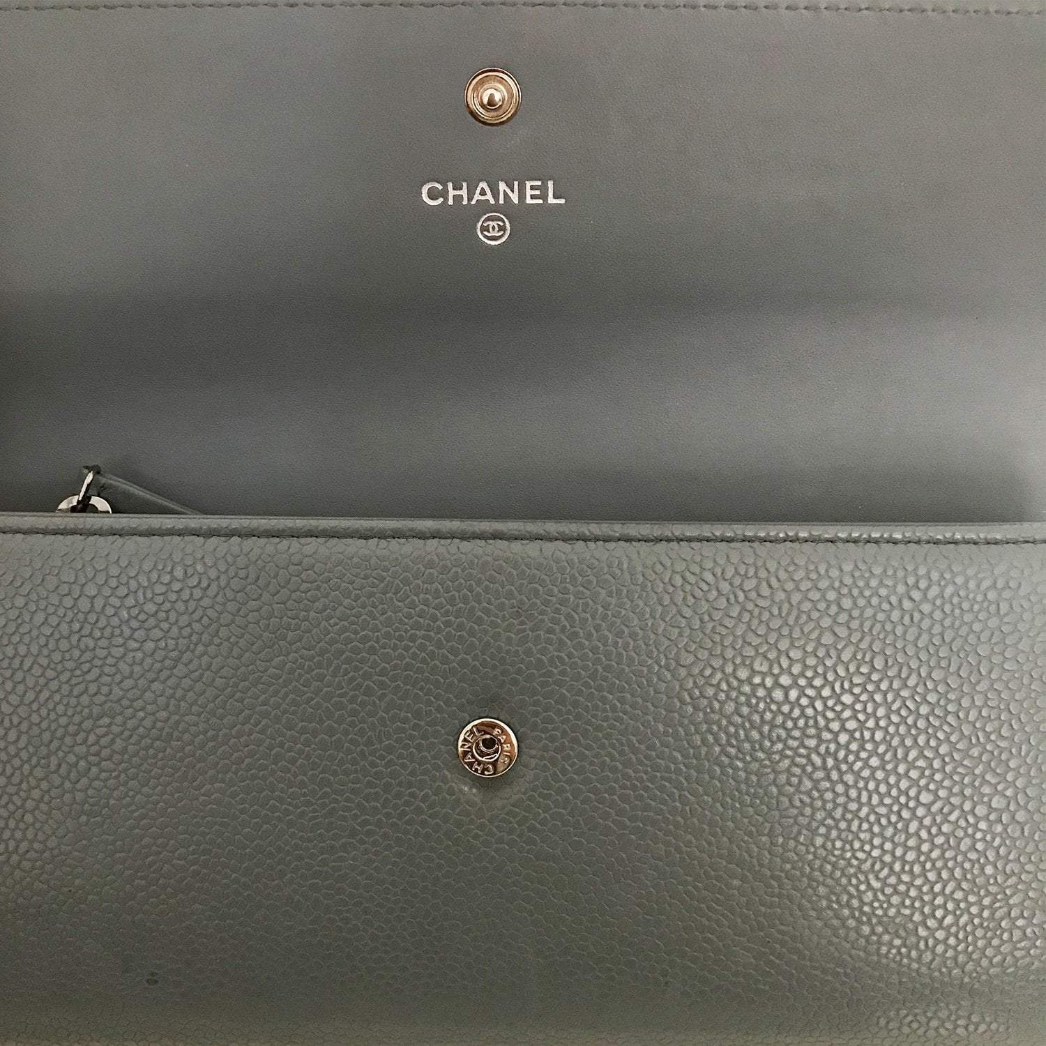 Chanel Grey Embossed Leather CC Timeless Flap Wallet