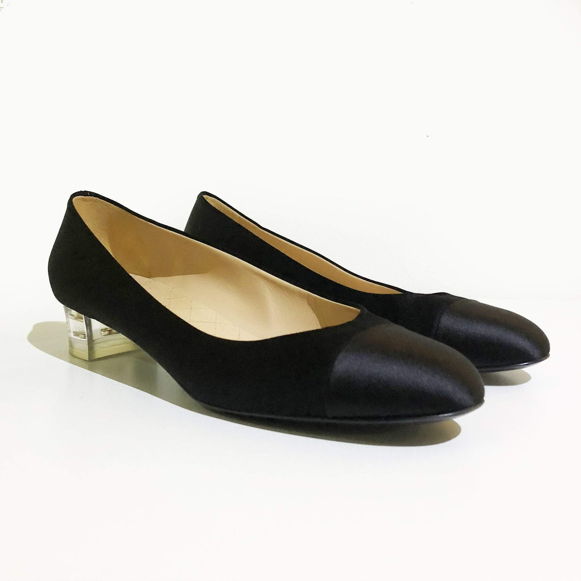 Chanel Black Satin Cap-toe Pumps