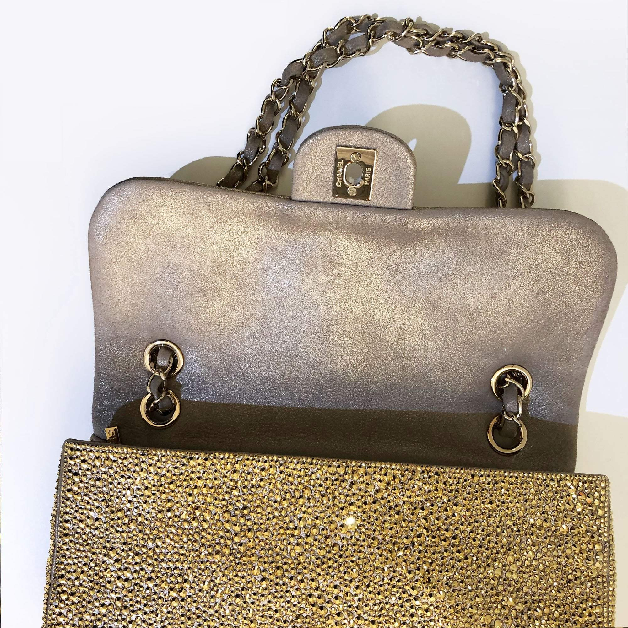 Chanel  Strass Encrusted Medium Flap Gold Bag