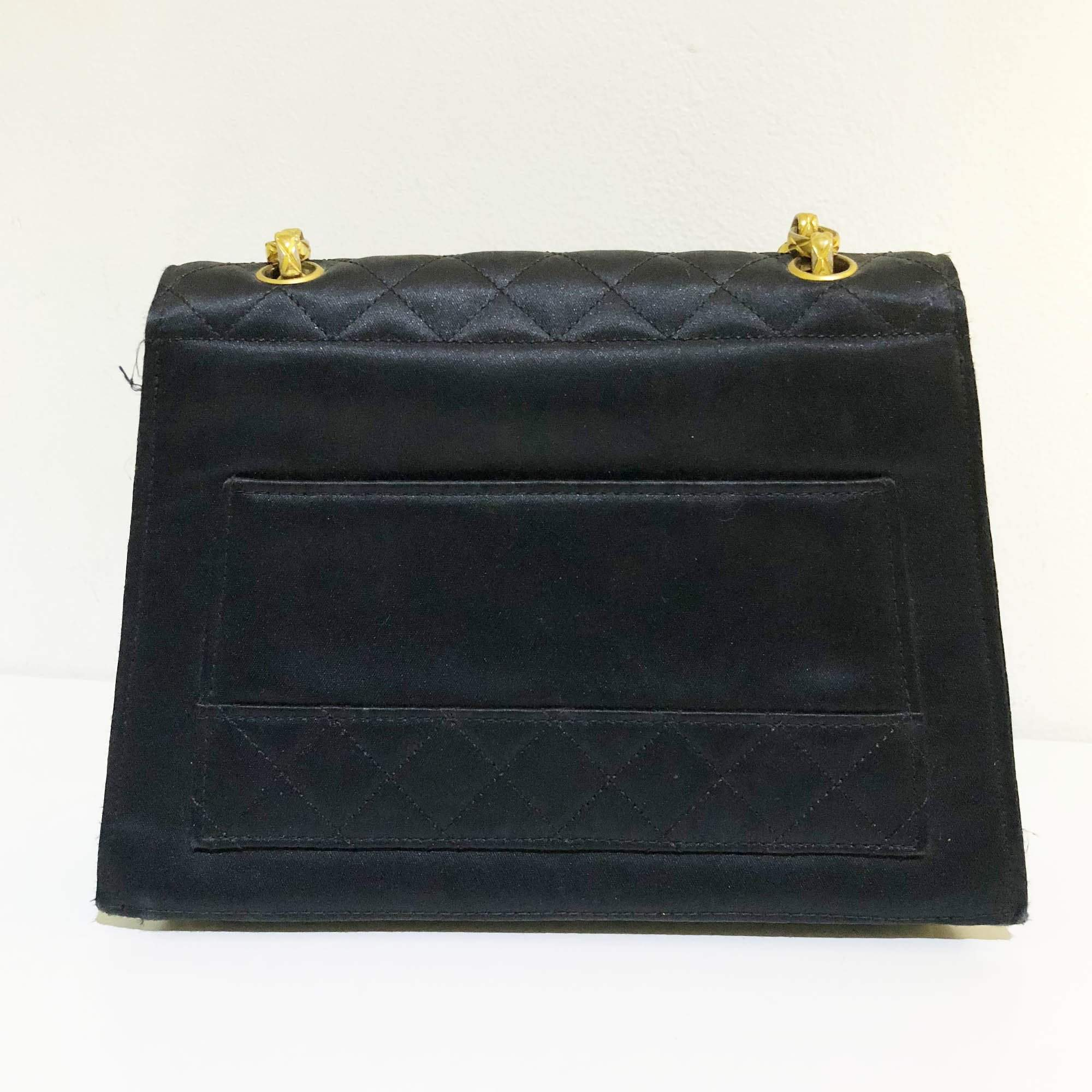 Chanel Vintage Satin Black Flap Cross Body Bag