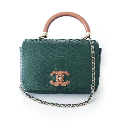Chanel Mini Dark Green Python Crossbody Bag
