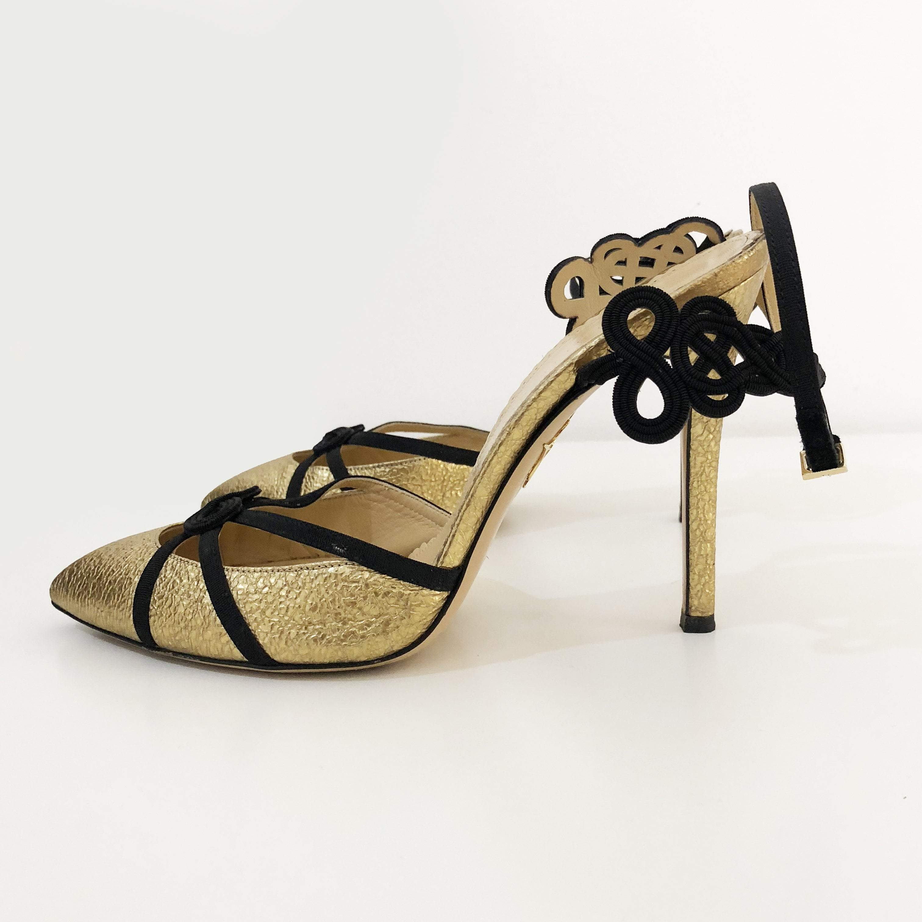 Charlotte Olympia 'Minx' Chinese Knot Textured Metallic Leather Pumps, Gold