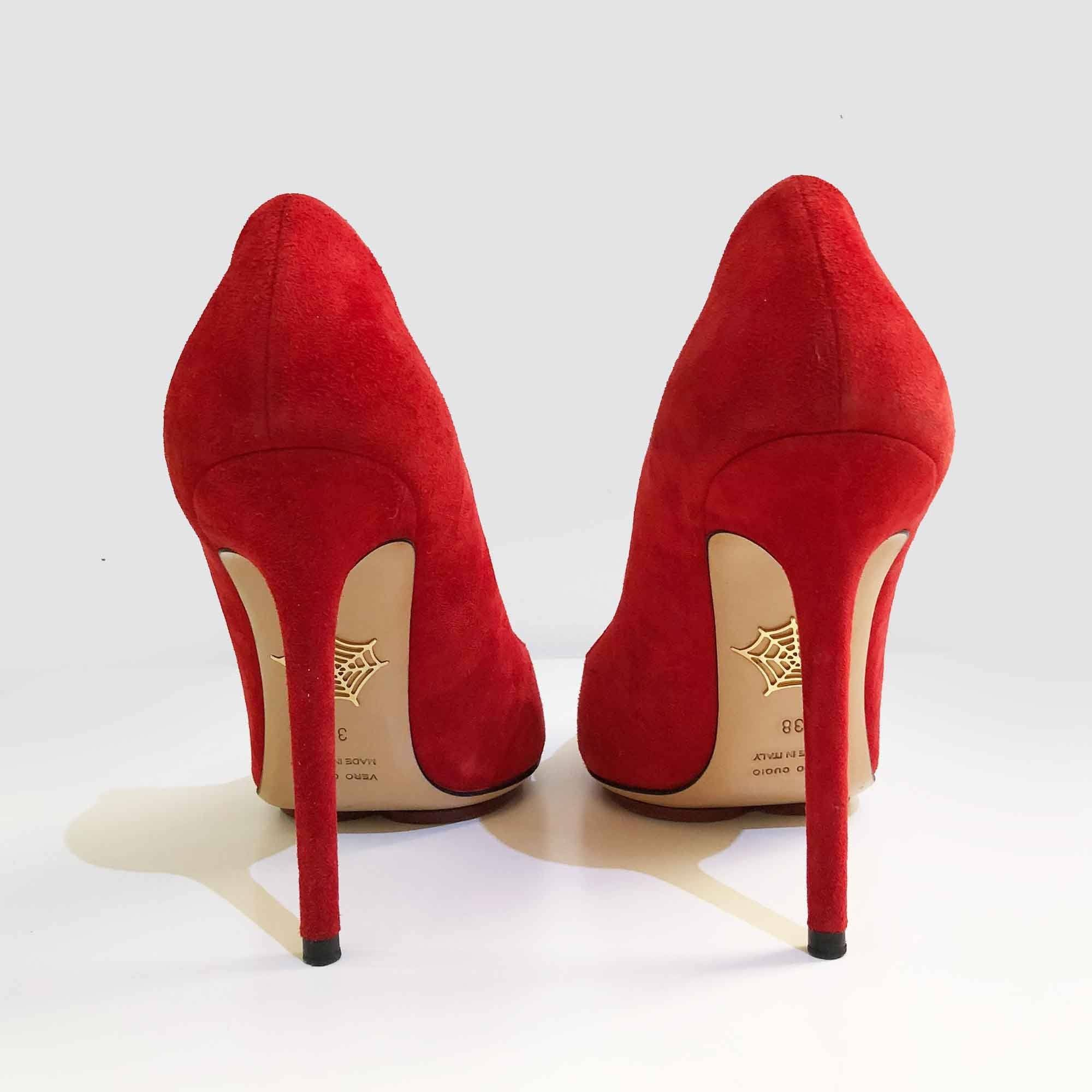 Charlotte Olympia Red Suede Pumps