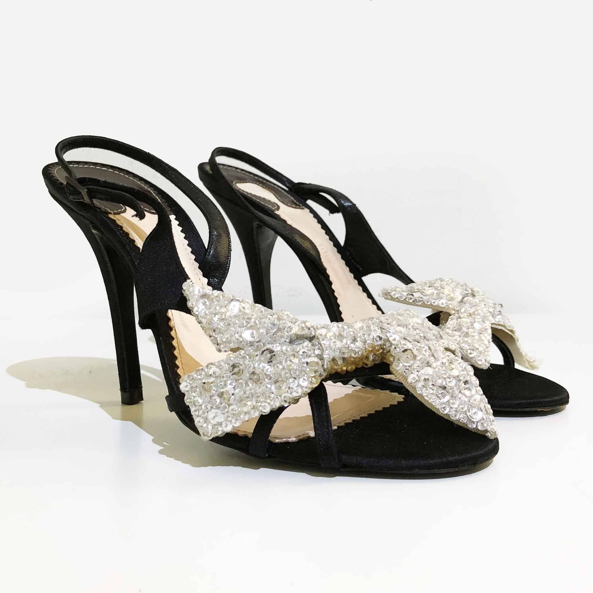 Chloe Beaded Bow Satin Sandal Heels