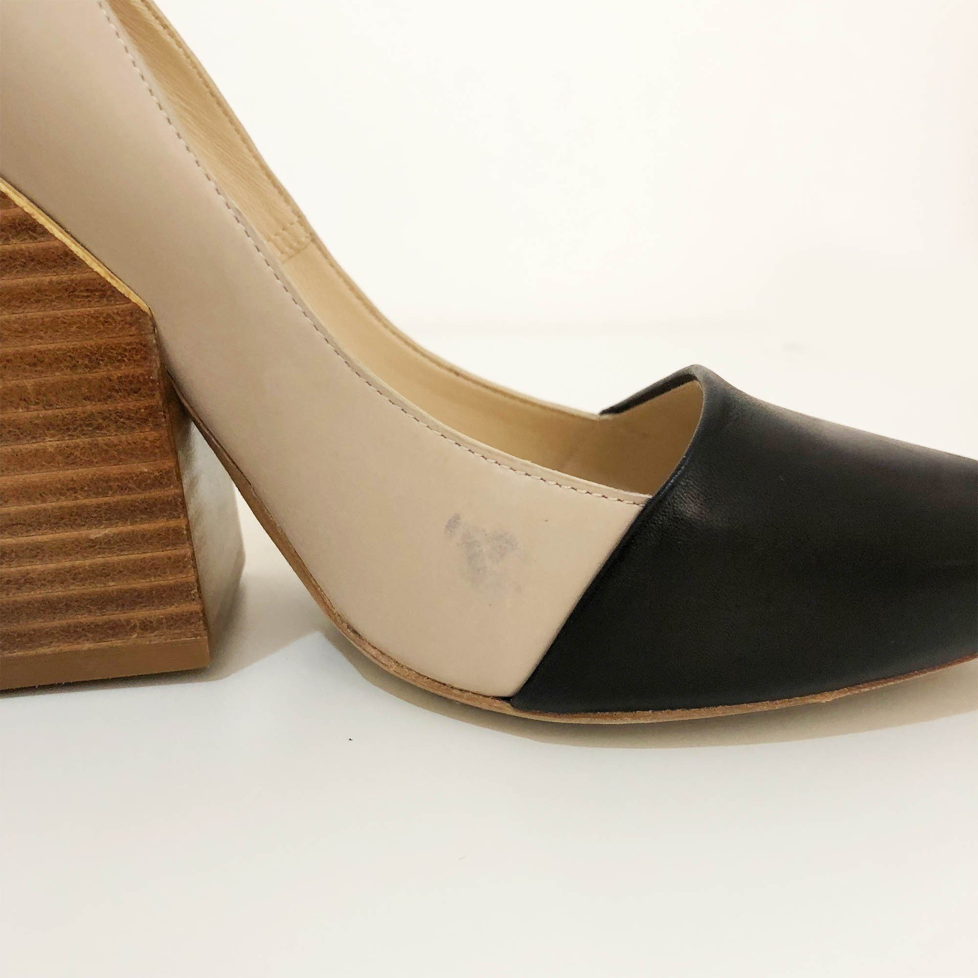 Chloe Two-tone Leather Block Heel Pumps