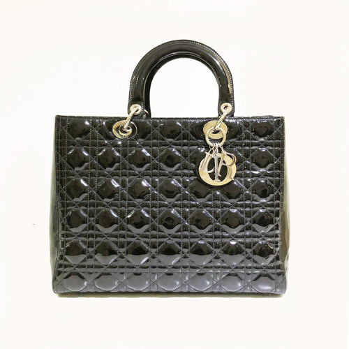 Christian Dior Black Cannage  Leather Lady Dior Tote Bag
