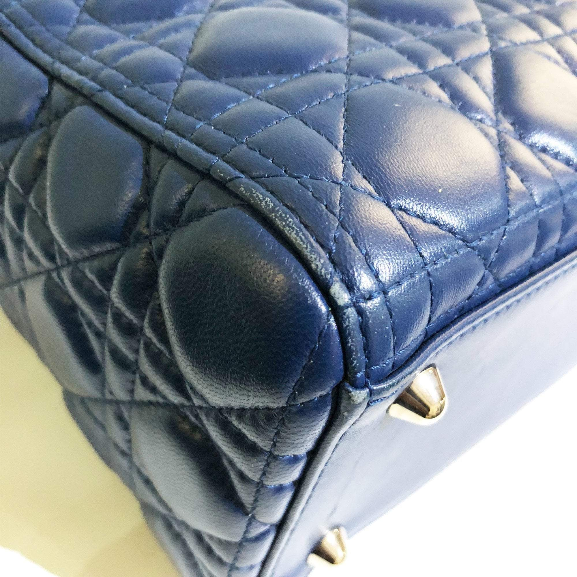 Christian Dior Blue Cannage Leather Lady Dior Tote Bag