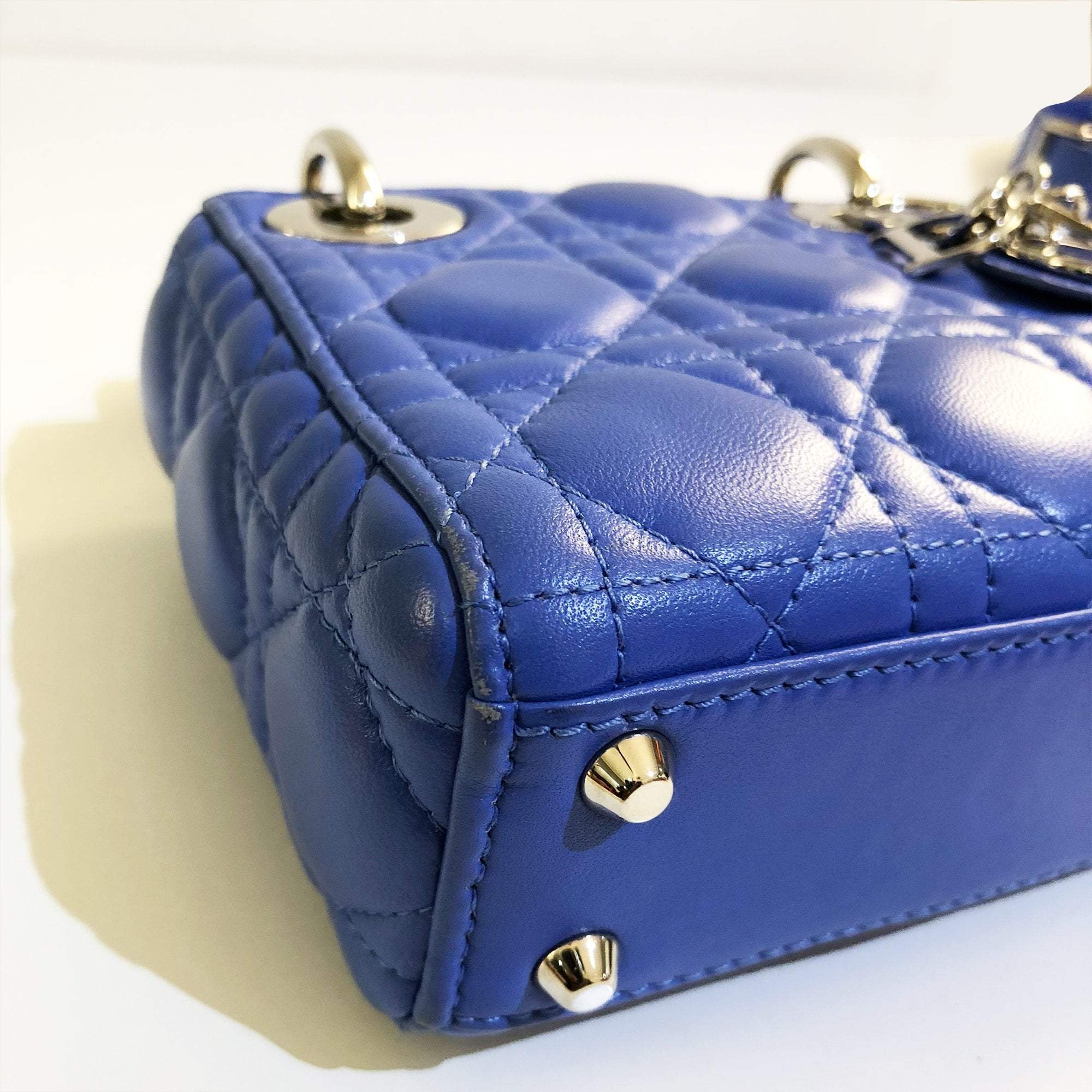 Christian Dior Blue Micro Lady Dior Bag