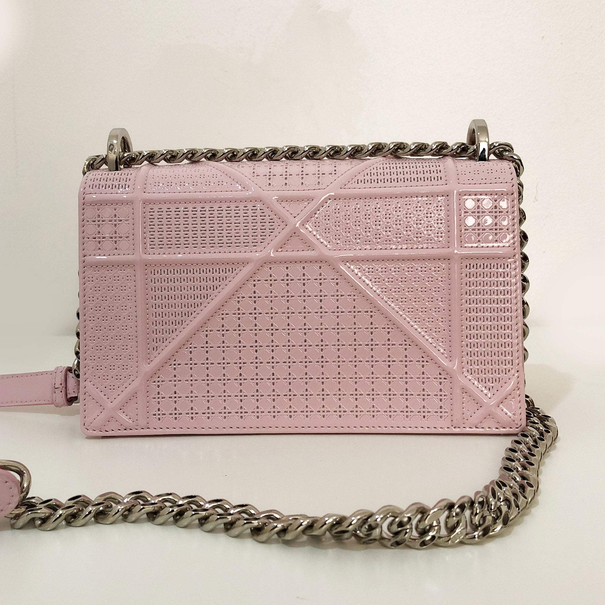Christian Dior Patent  Small Cannage Pale Pink Diorama  Bag