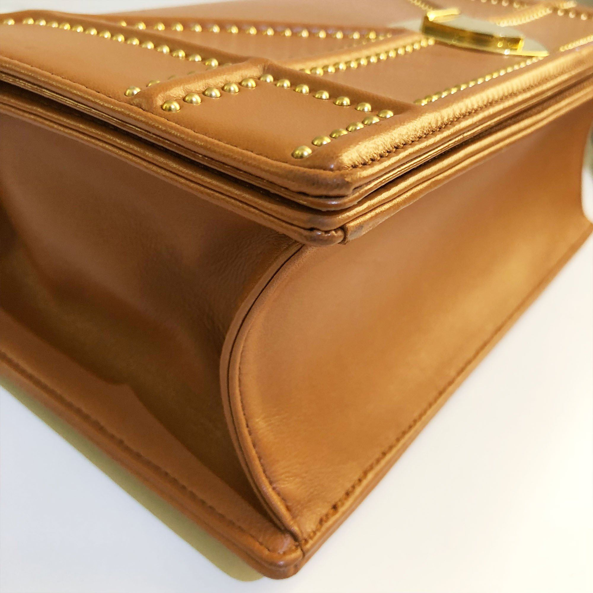 Christian Dior Diorama Gold Lambskin Leather Studded