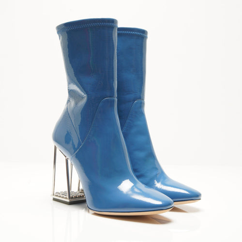 Christian Dior Fall 2015  Blue Patent Leather Boots