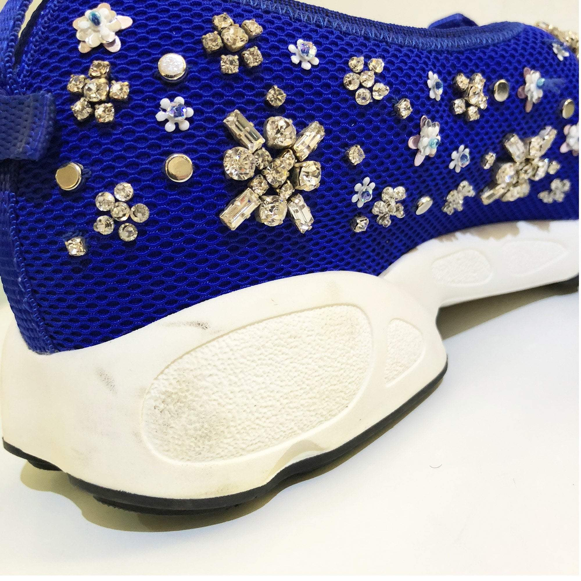 Christian Dior Flower-Embellished Mesh Slip-On Trainer