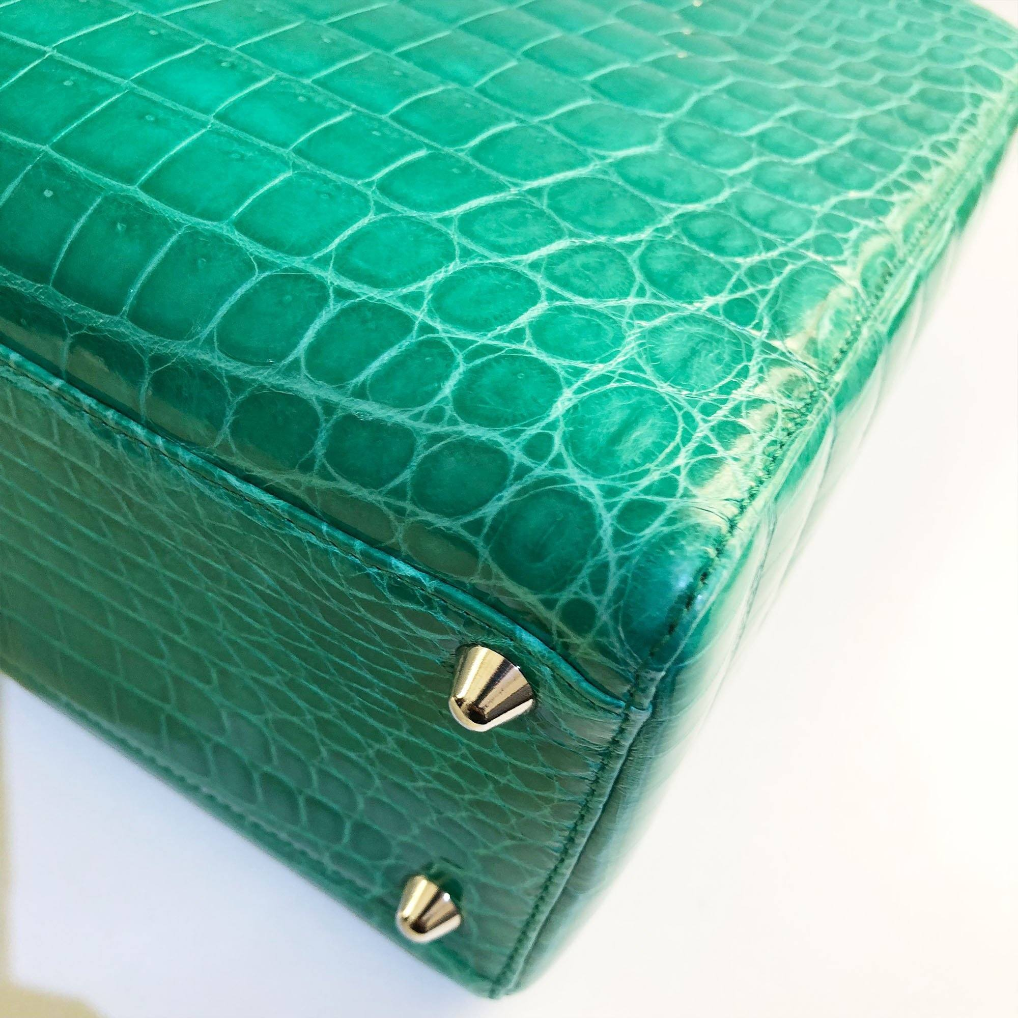 Christian Dior Large Crocodile Green Lady Dior Bag