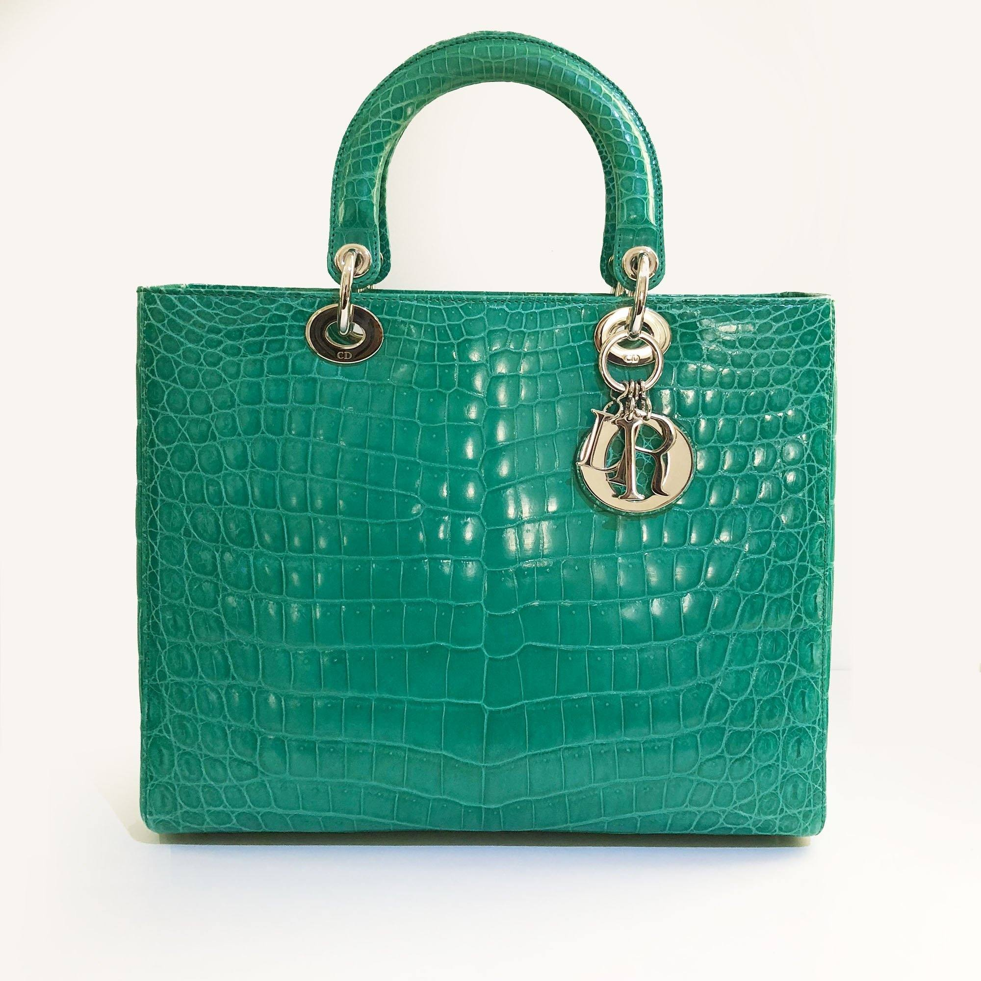 20709ca05e7f Christian Dior Large Crocodile Green Lady Dior Bag – Garderobe