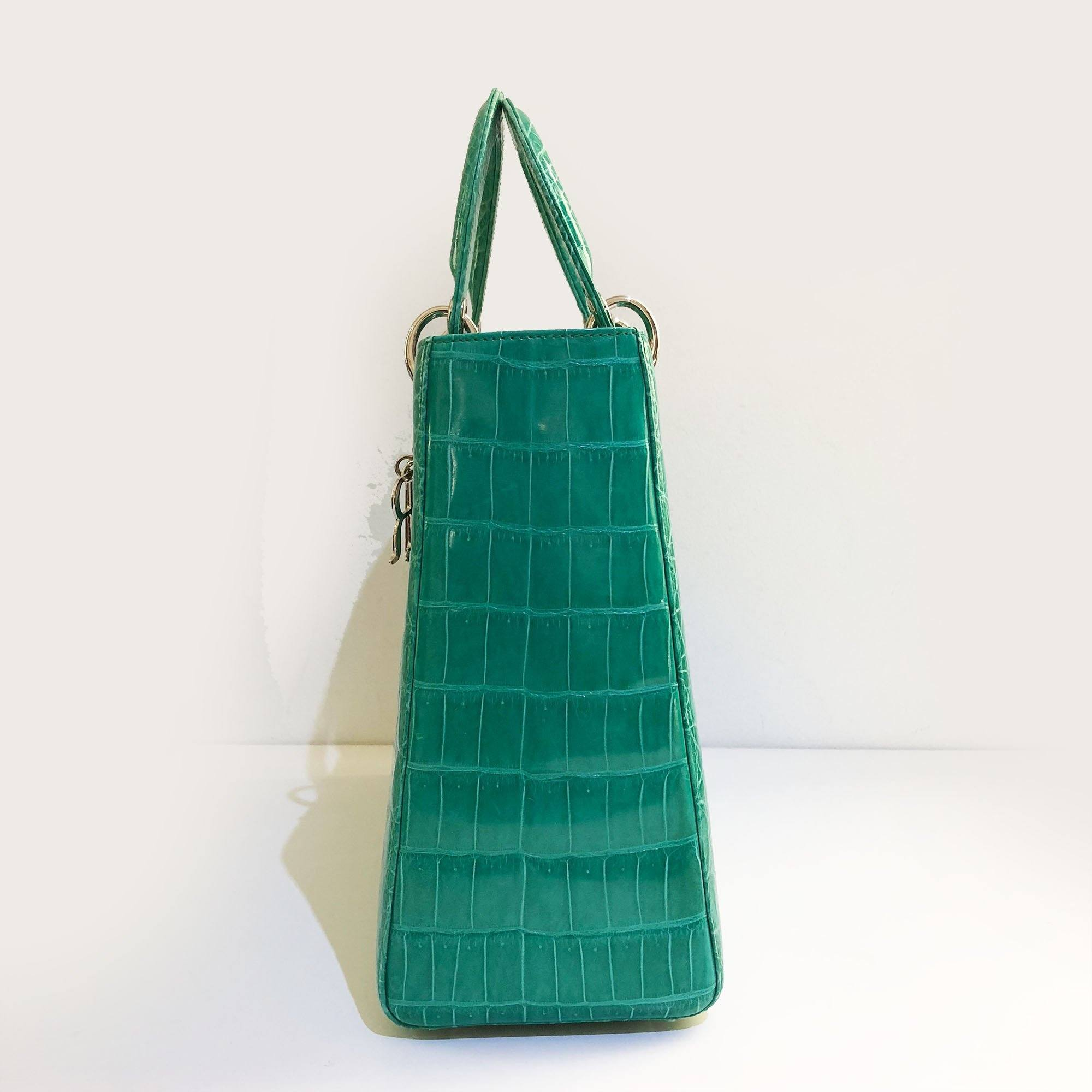 Christian Dior Large Crocodile Green Lady Dior Bag – Garderobe 6df46d91e31f0
