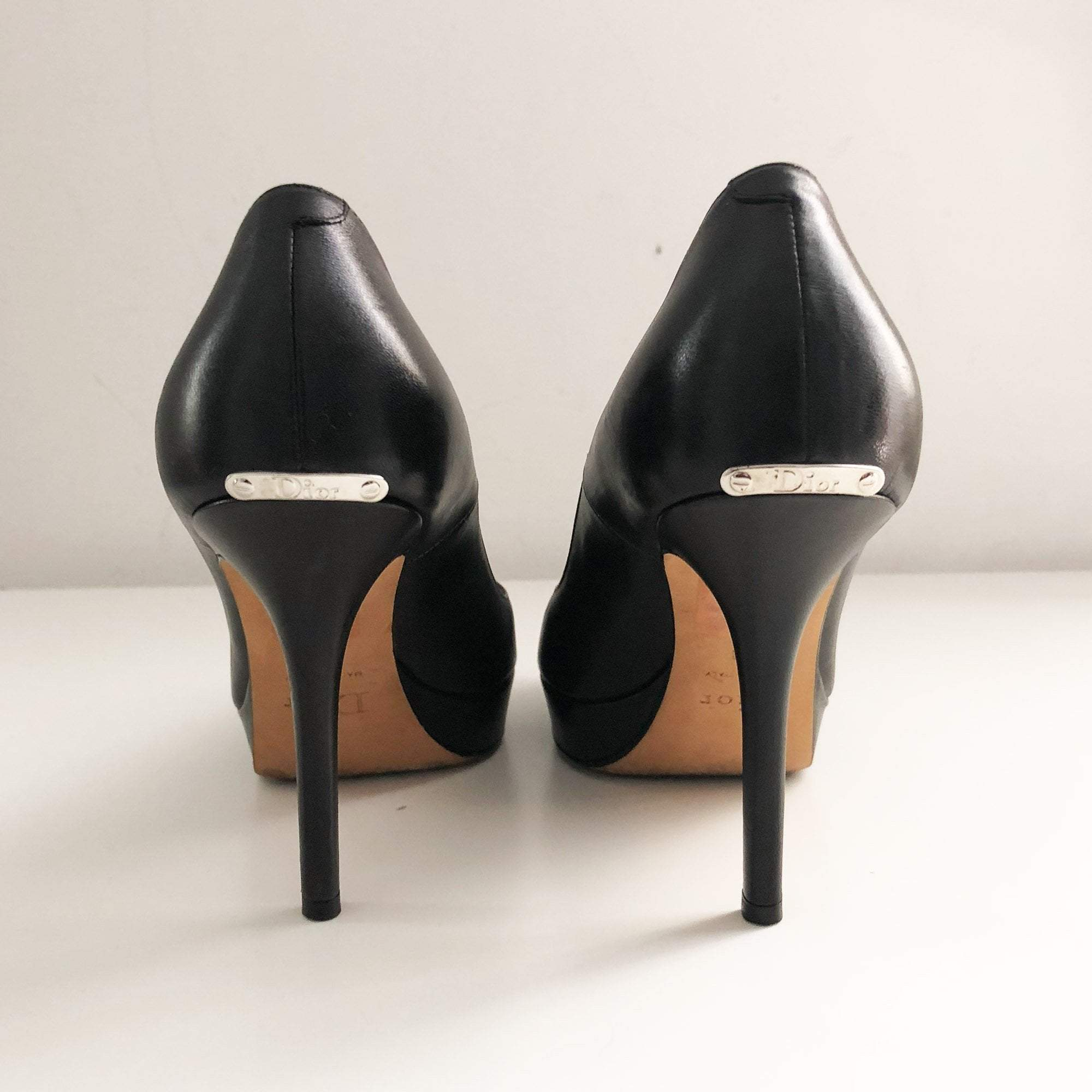 "Christian Dior "" Miss Dior"" Black Leather Peep Toe Pumps"