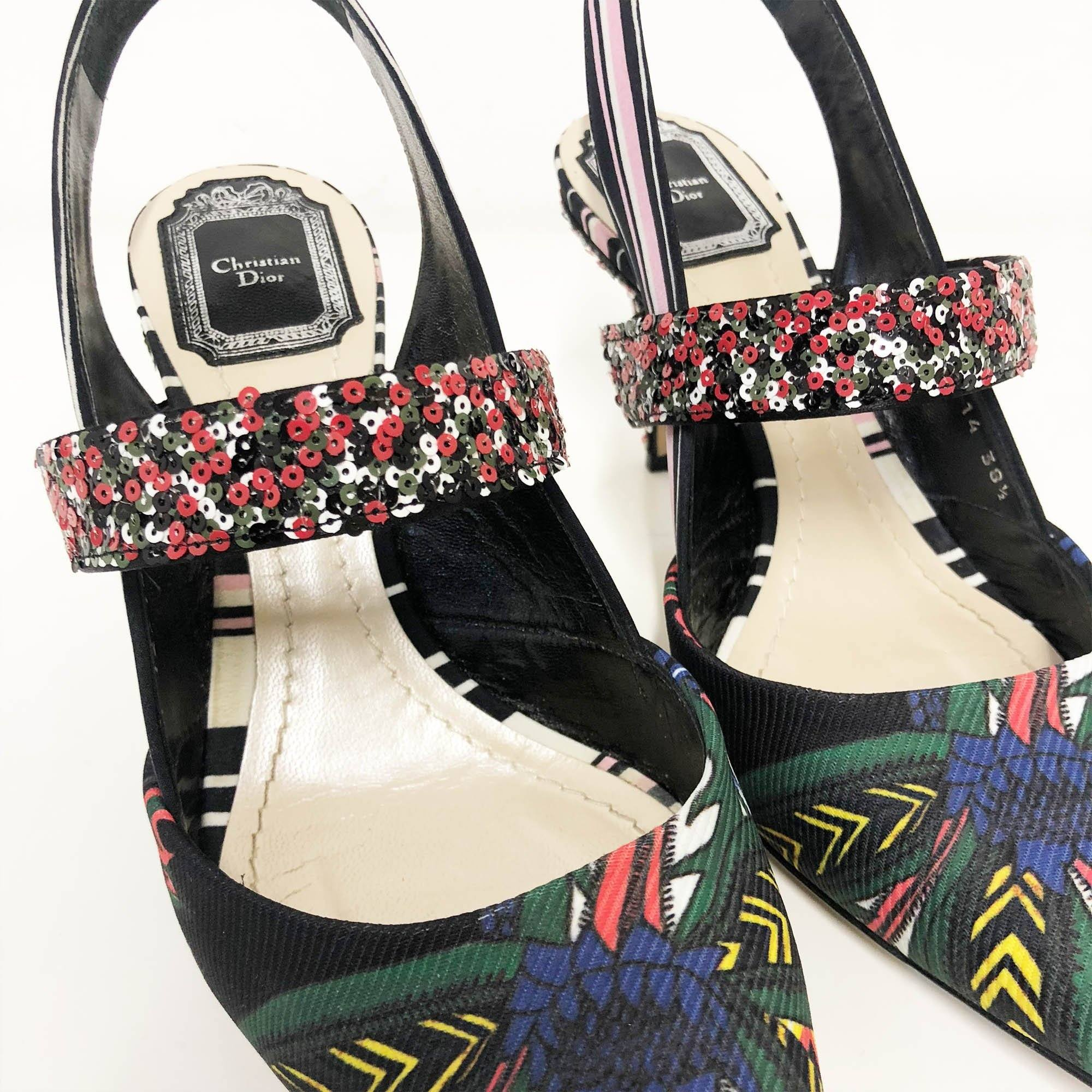 Christian Dior Sequin Printed Pointed Sling Back Shoes