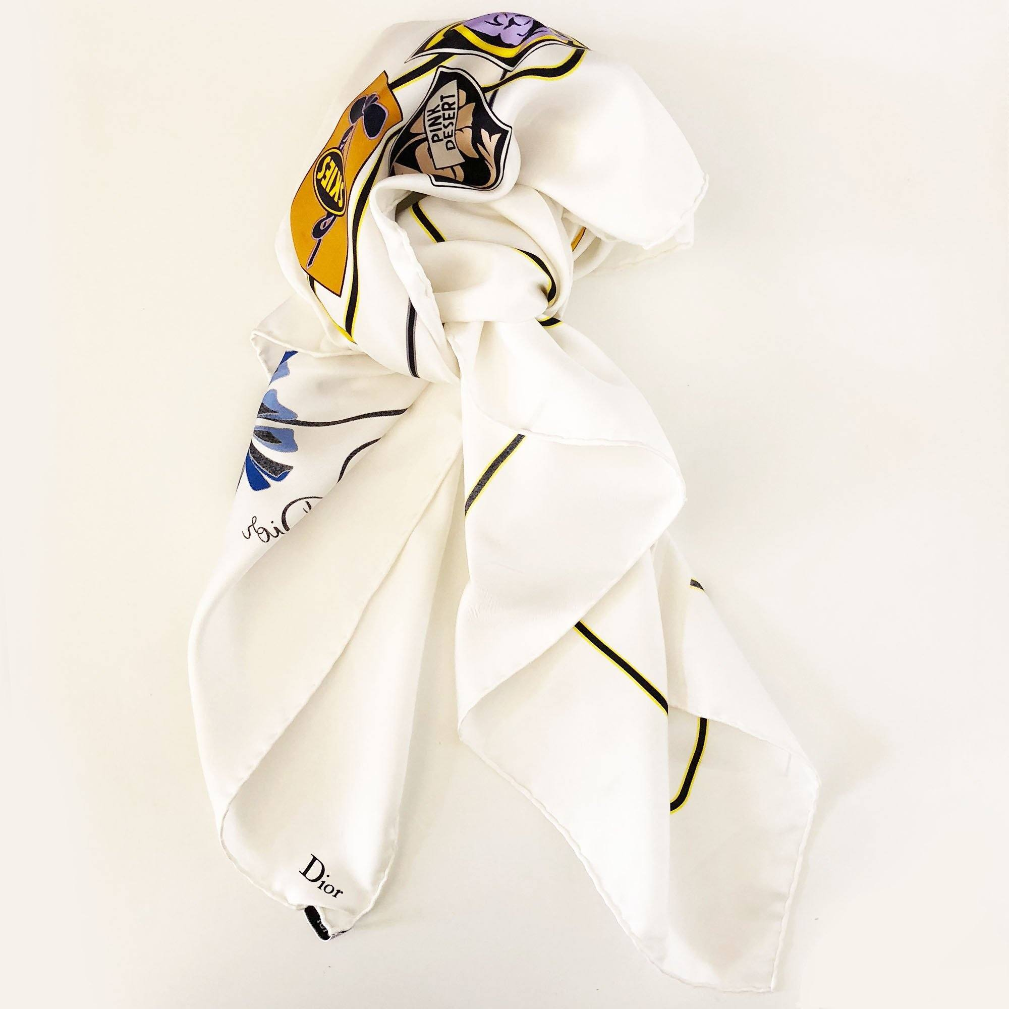 Christian Dior White Silk Printed Scarf