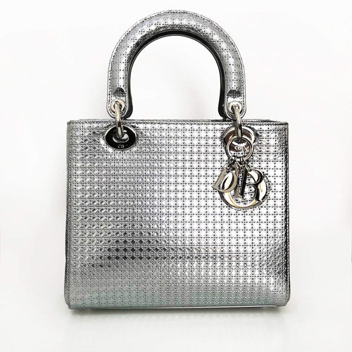 Christian Dior Silver Micro Cannage Medium Lady Dior Bag