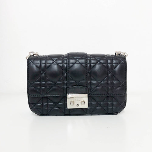 Christian Dior Small Miss Dior Black Cannage Stitch Bag