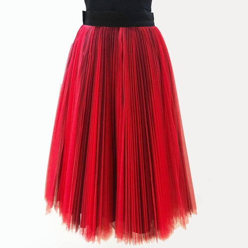 Christian Dior Red Pleated Mesh Midi Skirt