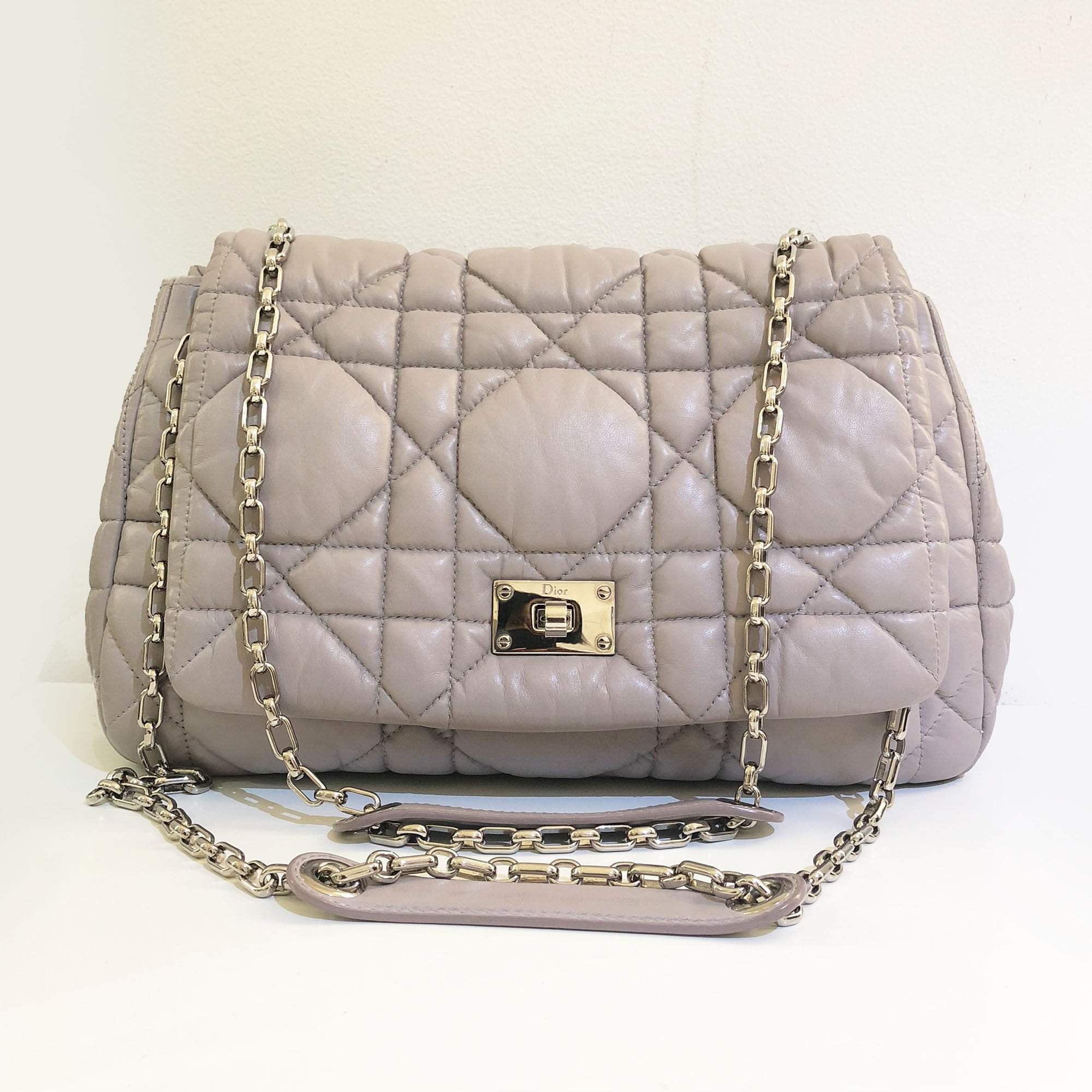 3bc2b8869d7 Christian Dior Cannage Quilted Lambskin Chain Shoulder Bag – Garderobe