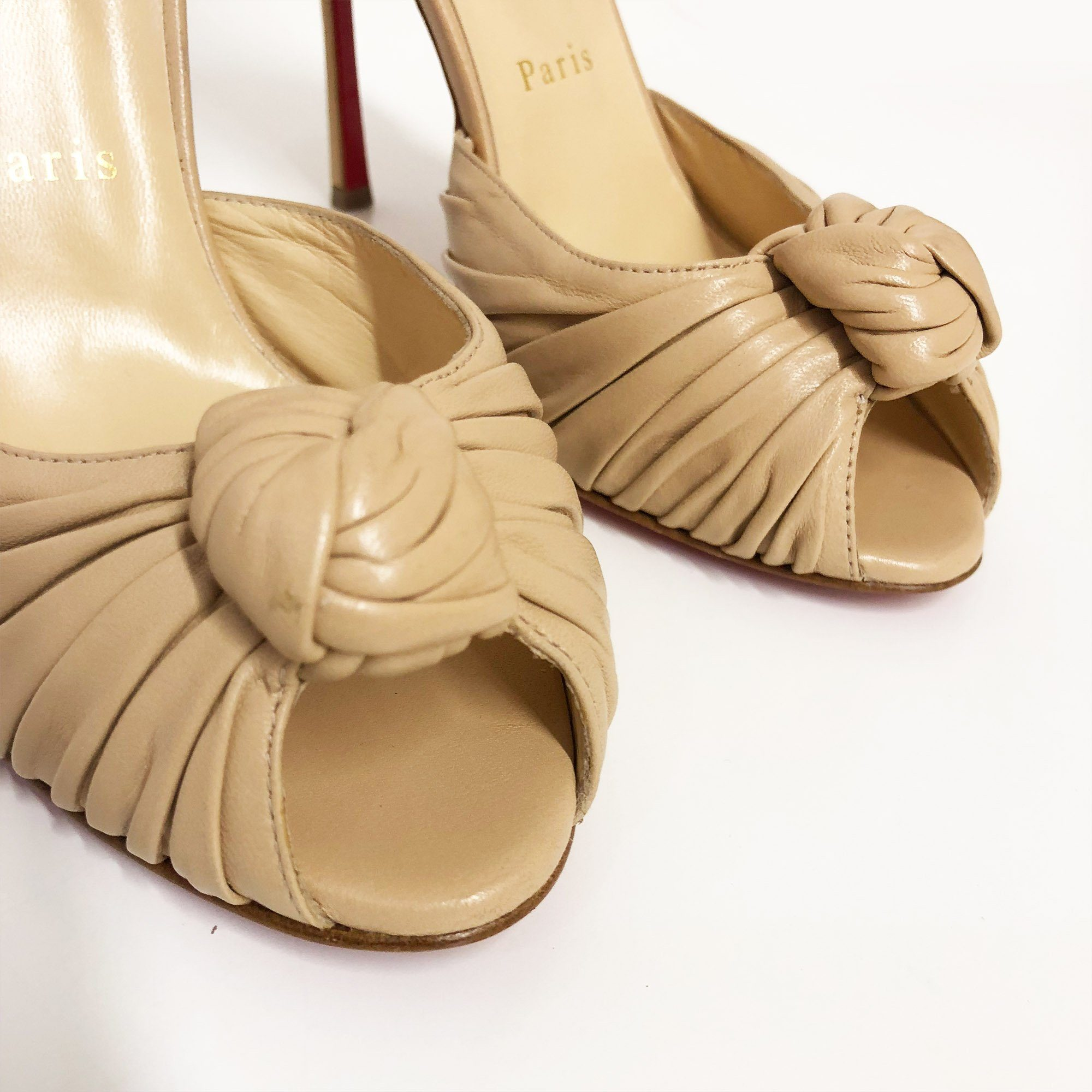 Christian Louboutin Beige Leather Knotted Marchavekel Sandal Pumps