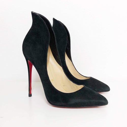 Christian Louboutin Black Mea Culpa Suede High-Back Collar Pumps