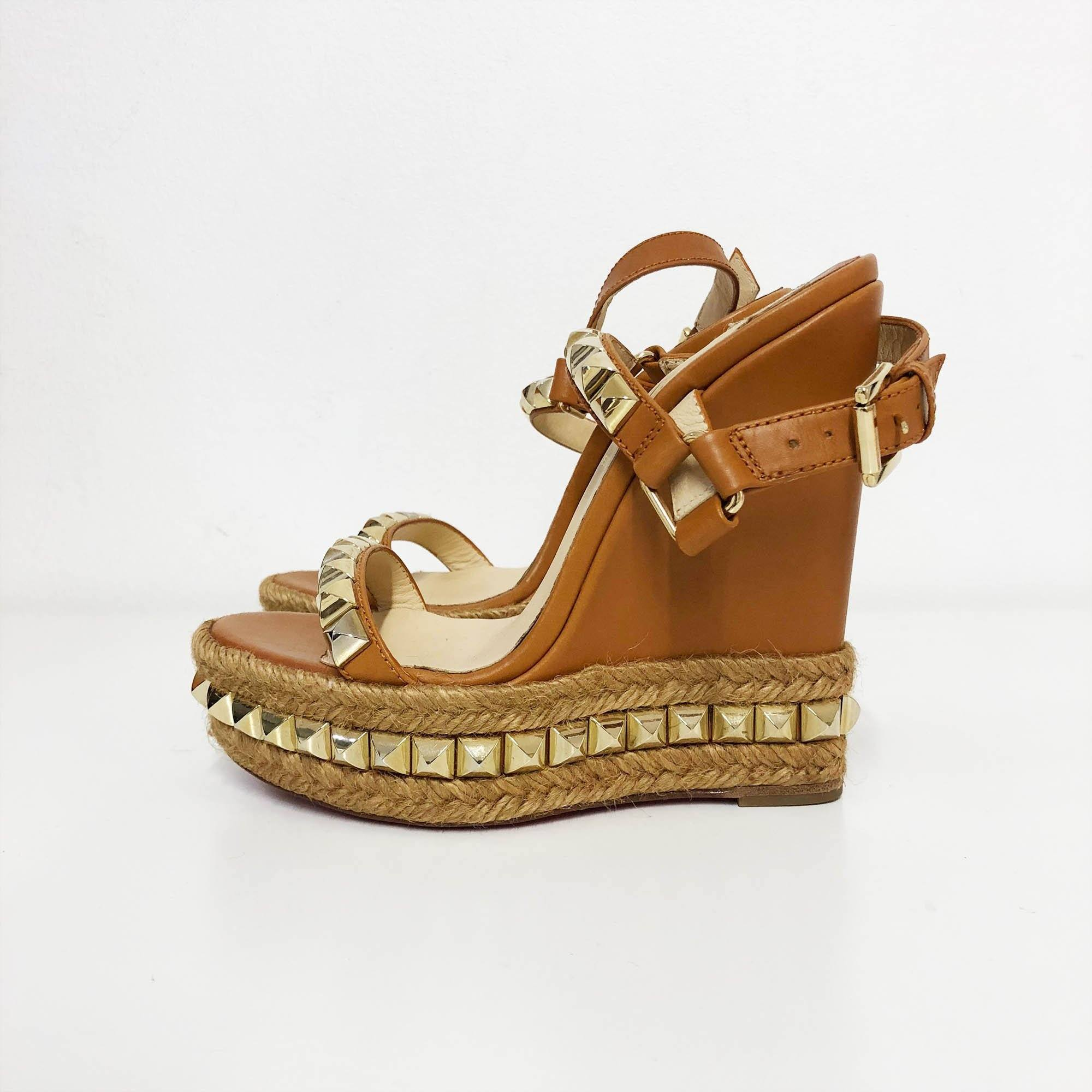 Christian Louboutin Cataclou Studded Leather Espadrille Wedges Tan