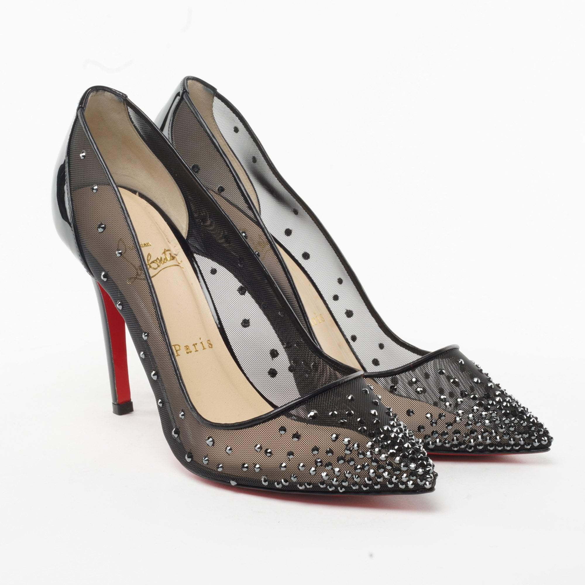 premium selection 575ff 74347 Christian Louboutin Follies Strass Mesh Pumps – Garderobe