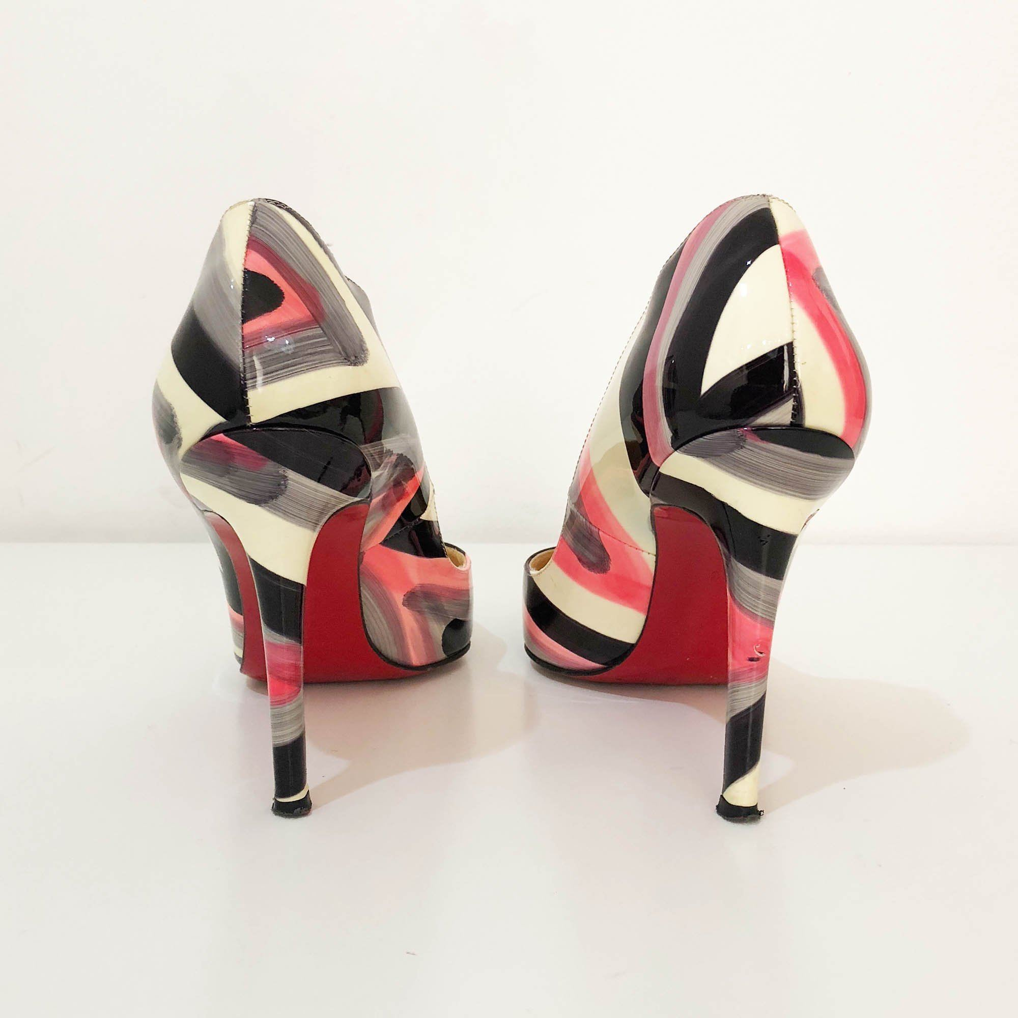 Christian Louboutin Marker Print Patent Leather Pumps