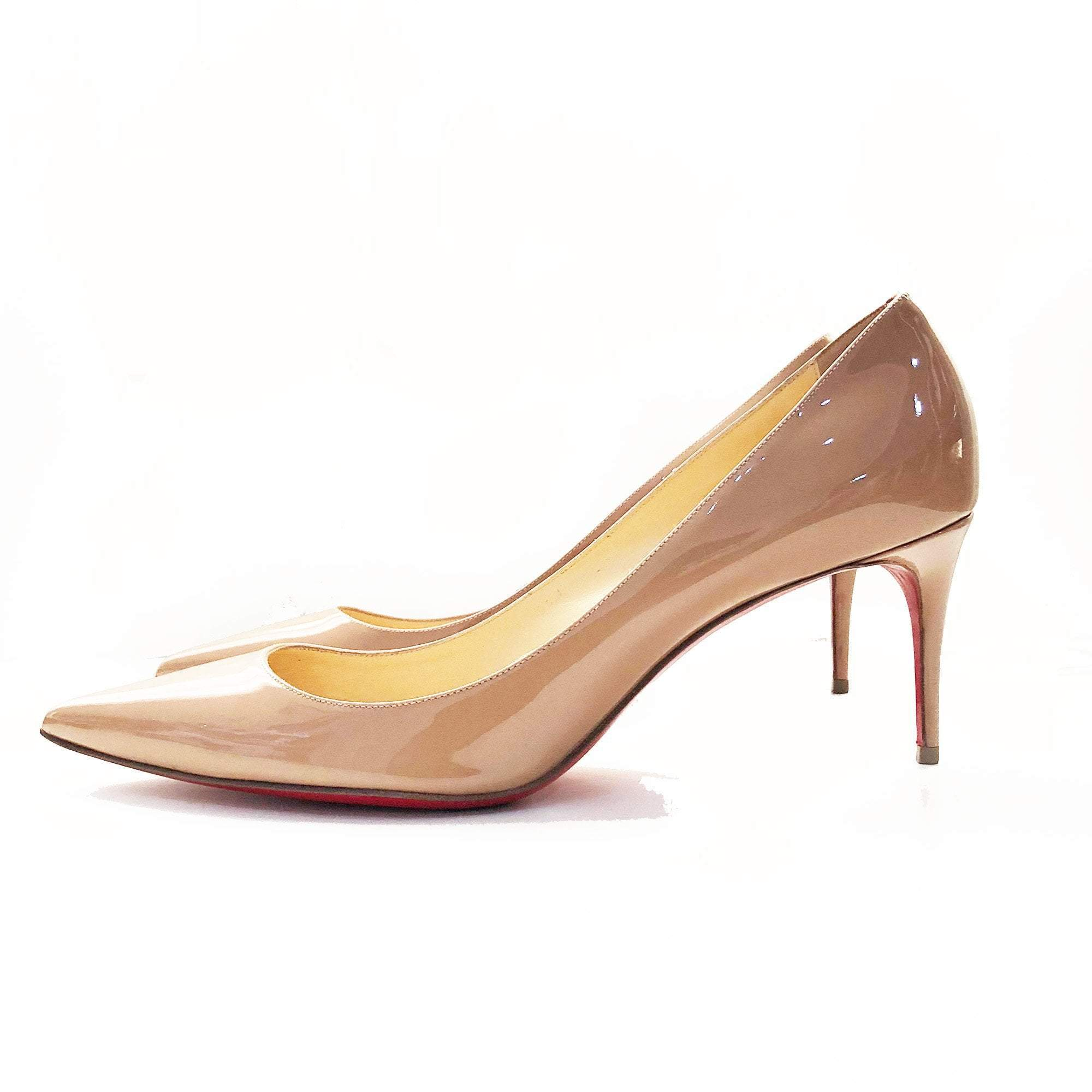 Christian Louboutin Nude Pointed Toe Patent Leather Pumps