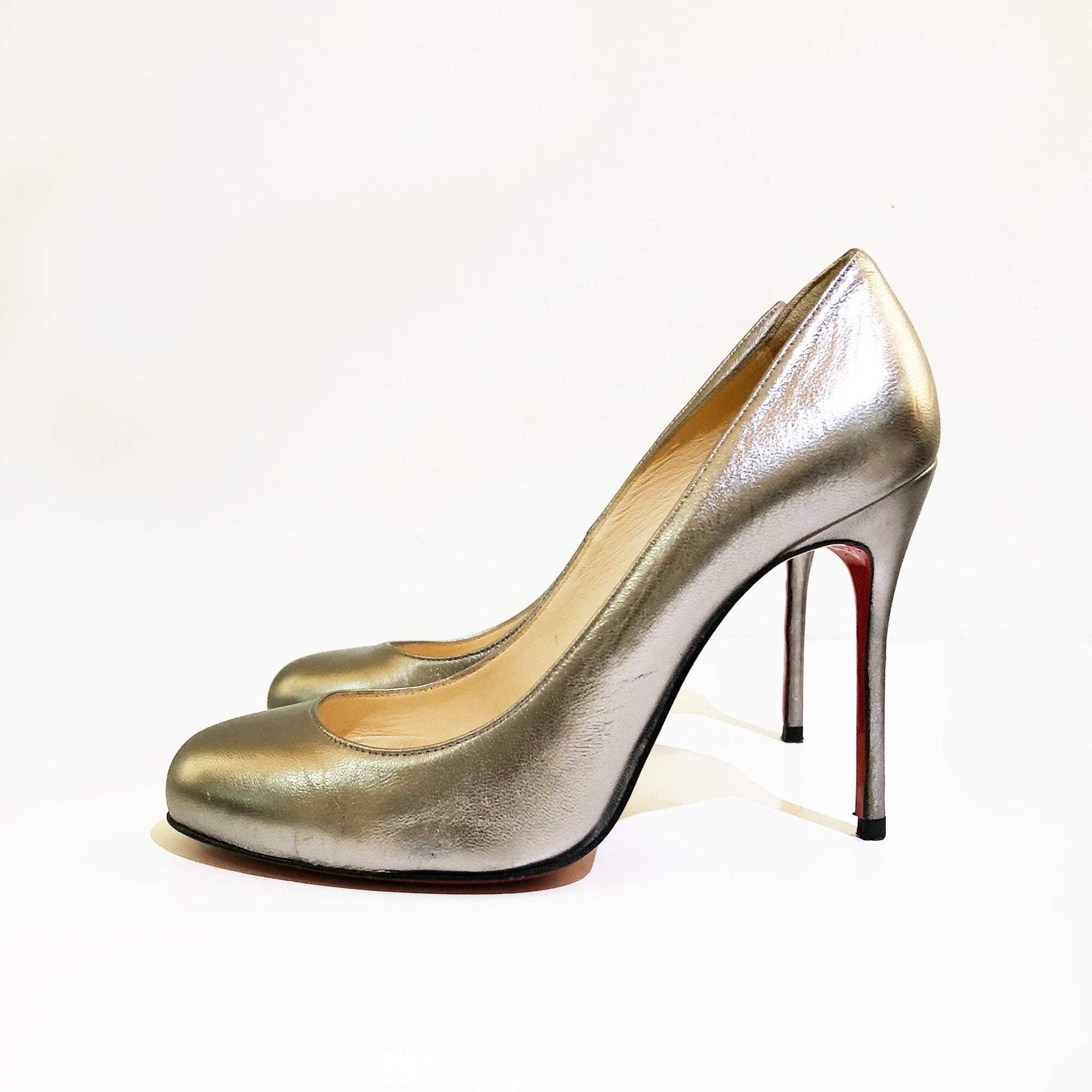 Christian Louboutin Metallic Silver Leather Pumps