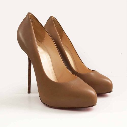 Christian Louboutin Tan Round Toe Pumps