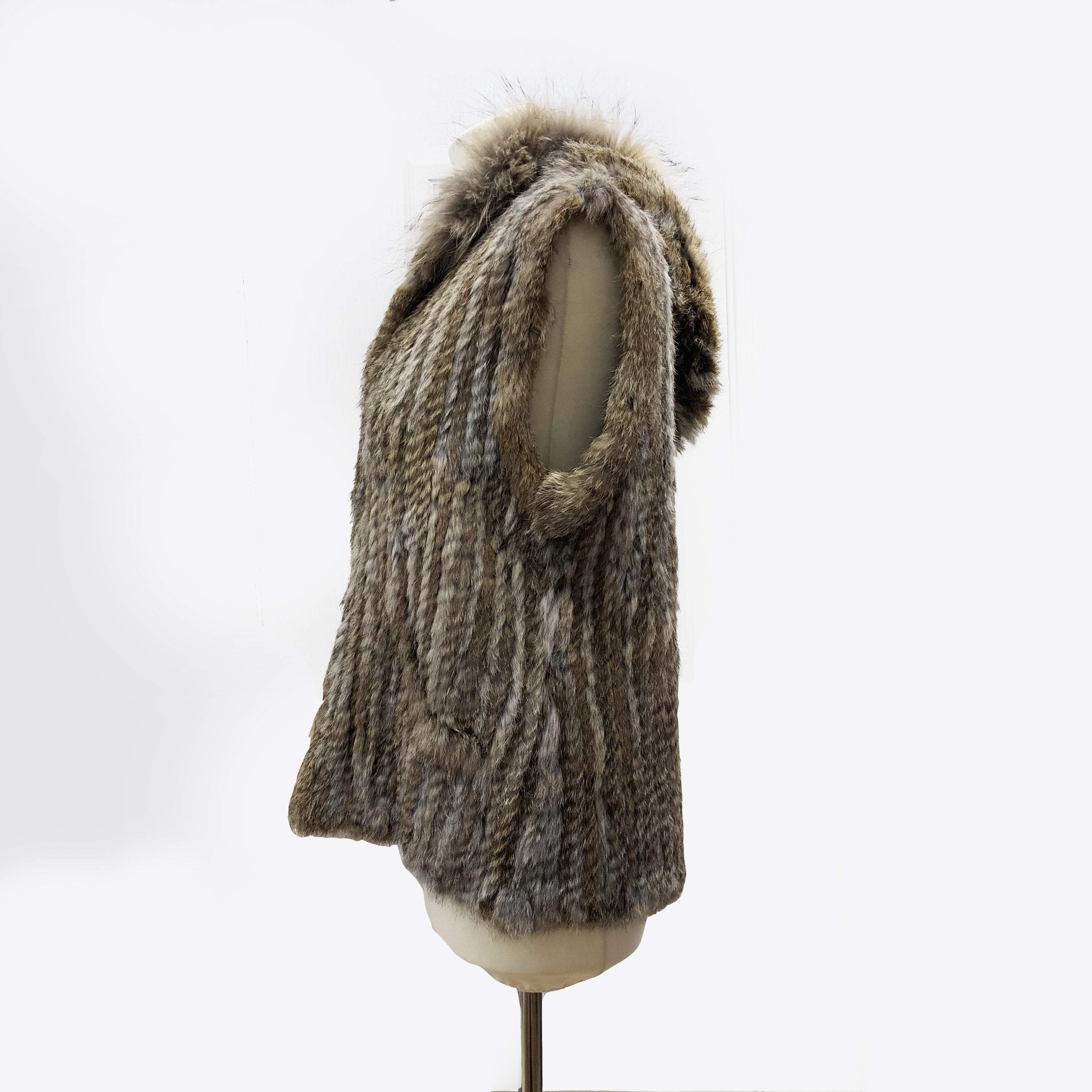 Corty Bennett Hooded Sleeveless Rabbit Fur Jacket