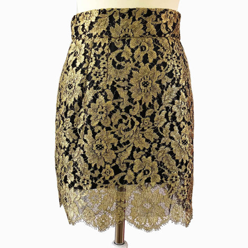 Dolce & Gabbana Gold Lace Mini Skirt