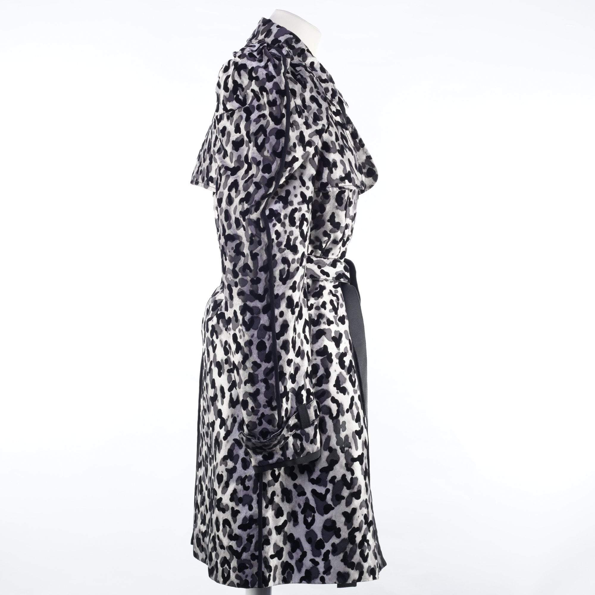 Dolce and Gabbana Long Silver Leopard Print Trench Coat