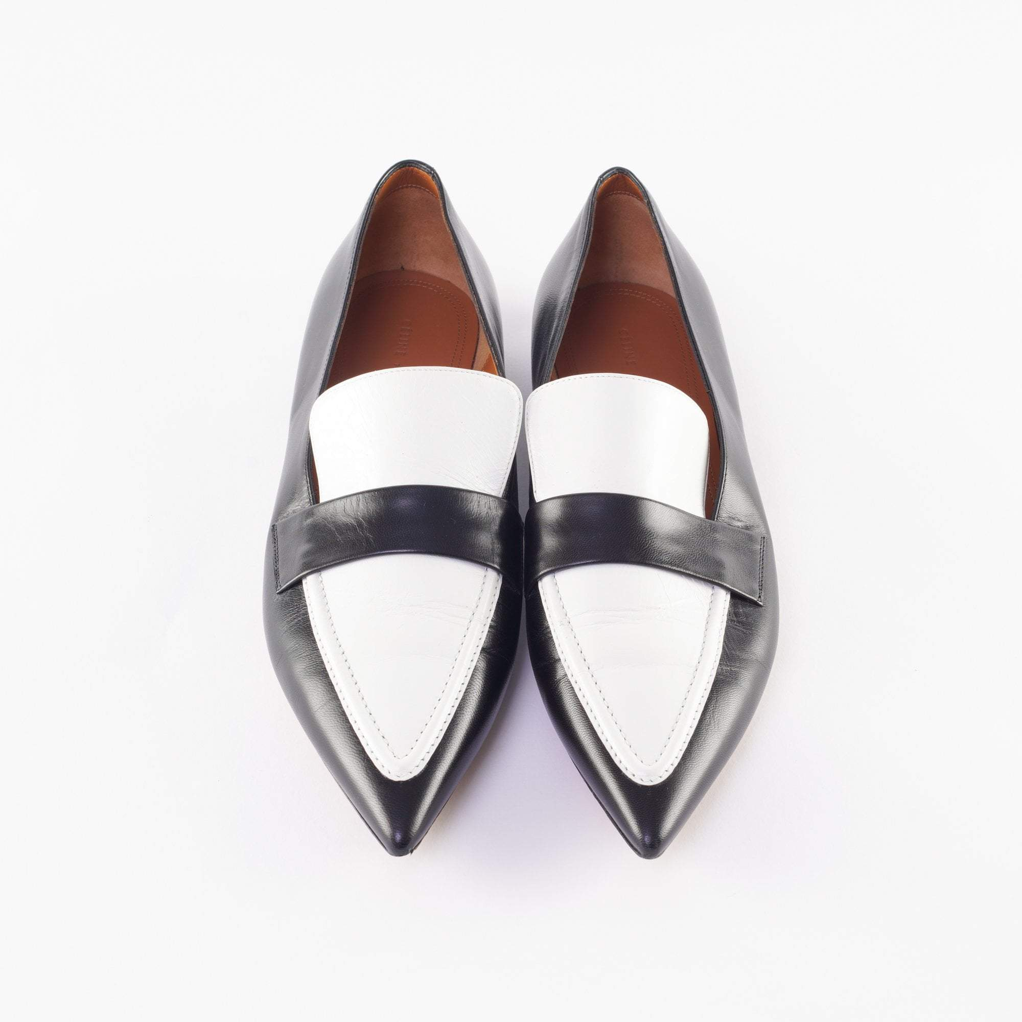 Celine Two Tone Pointy Loafers