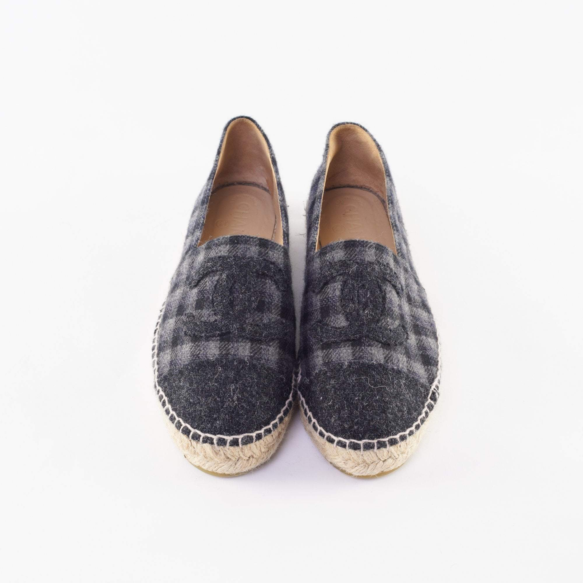 Chanel Black Wool and Tweed CC Espadrilles Size 41