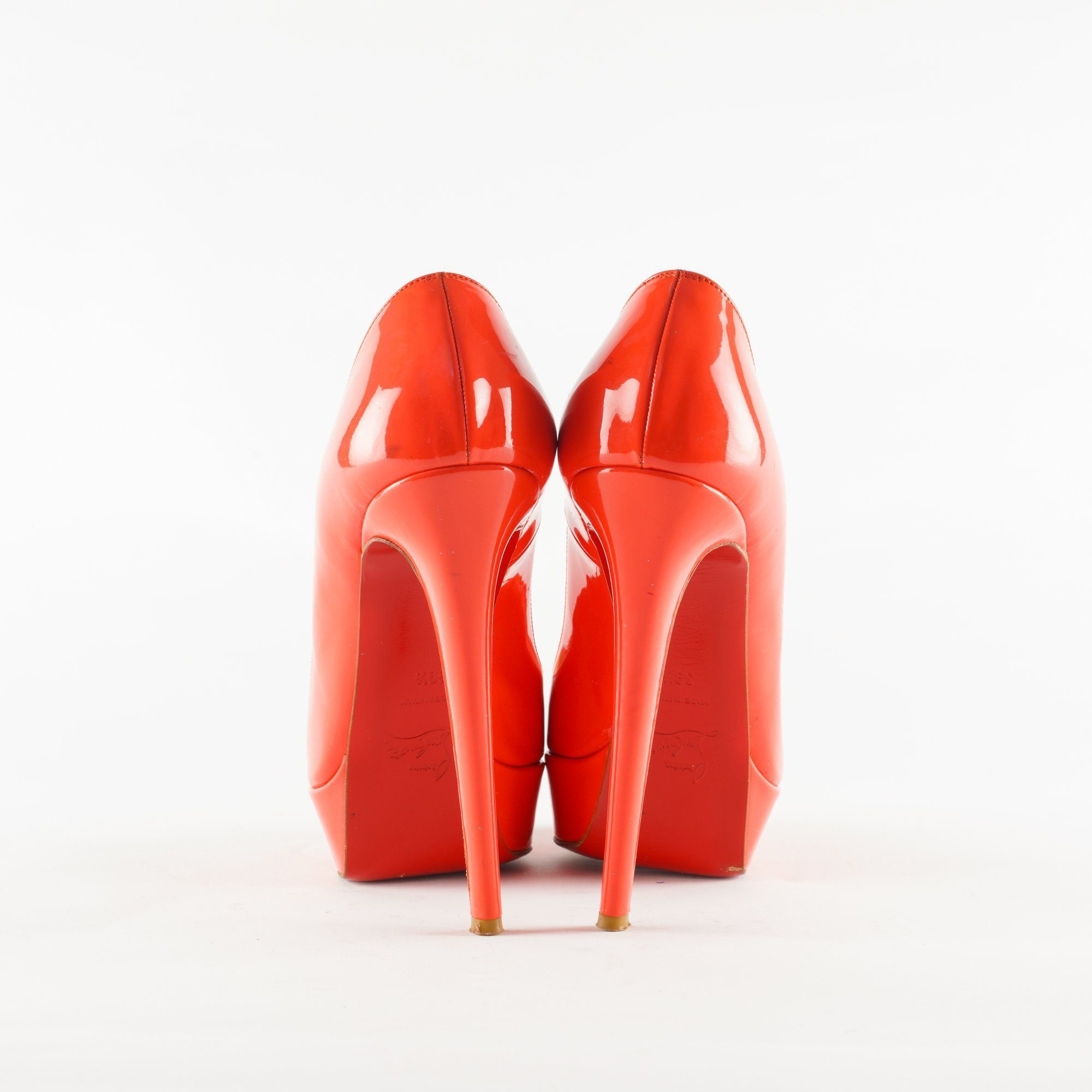 Christian Louboutin Orange Peep Toe Platform Heels