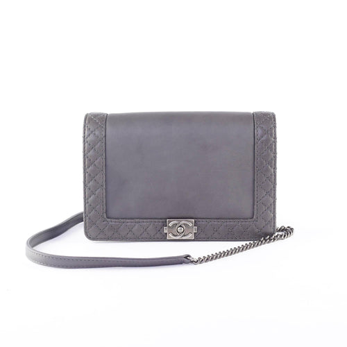 Chanel Grey Calfskin Medium Le Boy Reverso