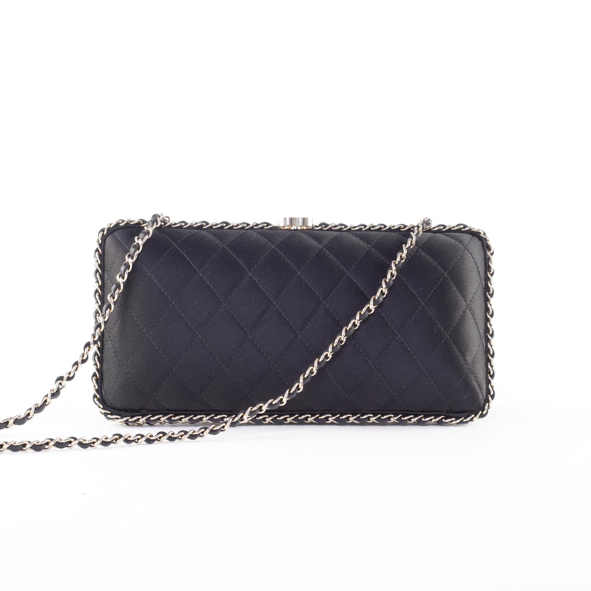 Chanel Black Quilted Satin Chain Box Clutch Bag
