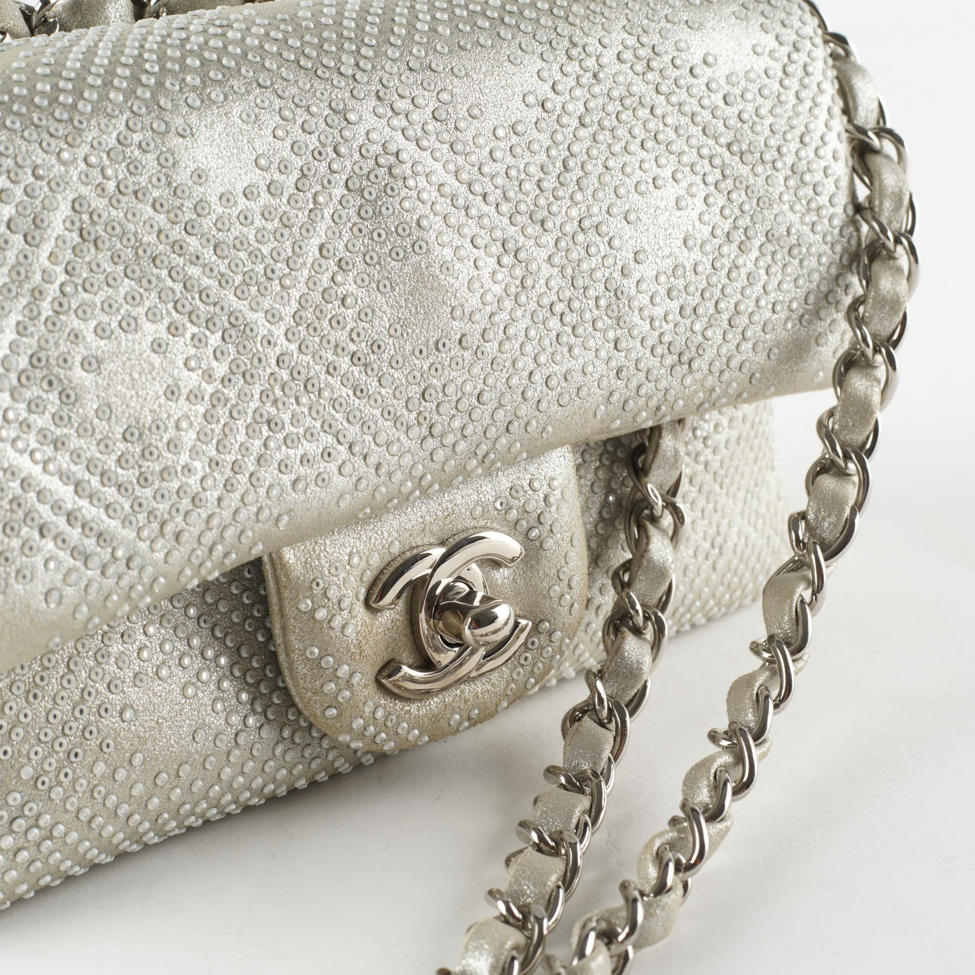 Chanel Bead Encrusted Small Flap Silver Bag