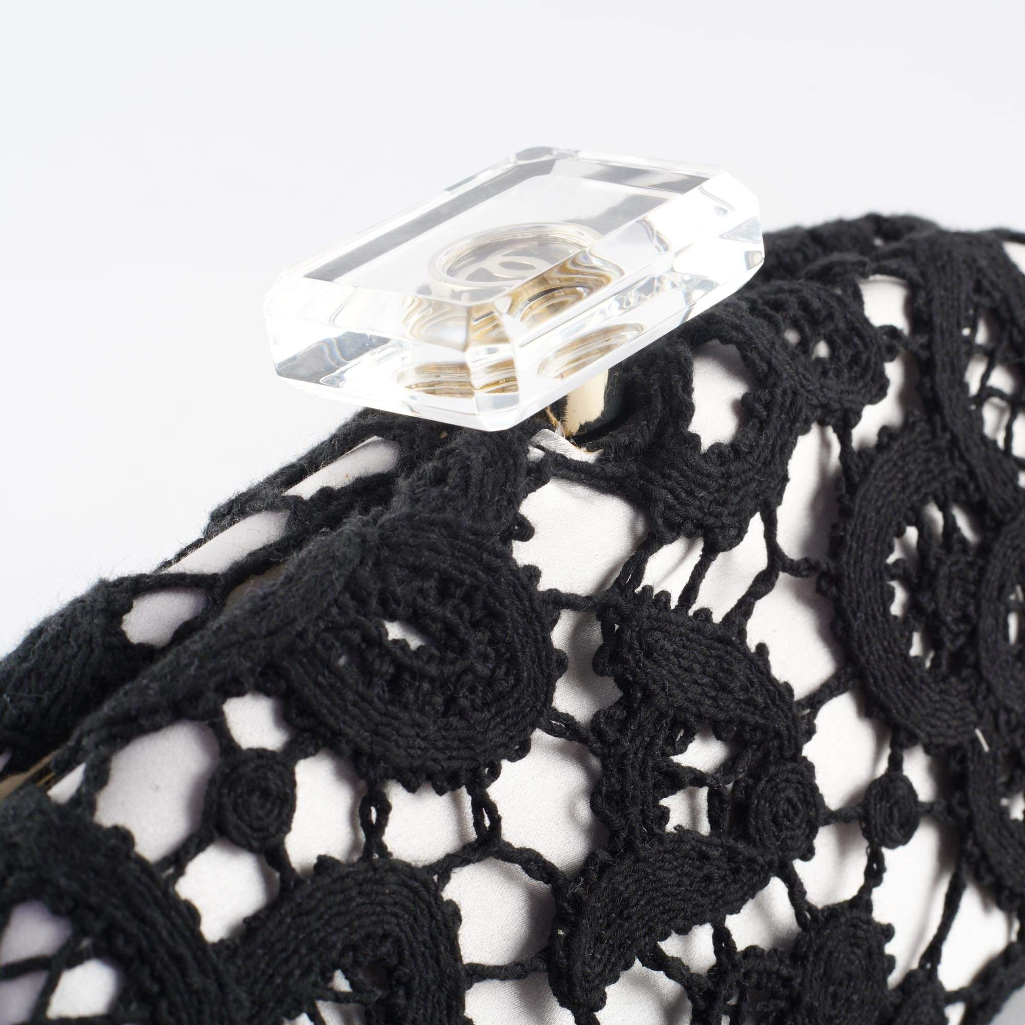 Chanel Lace Timeless Perfume Bottle Top Clutch