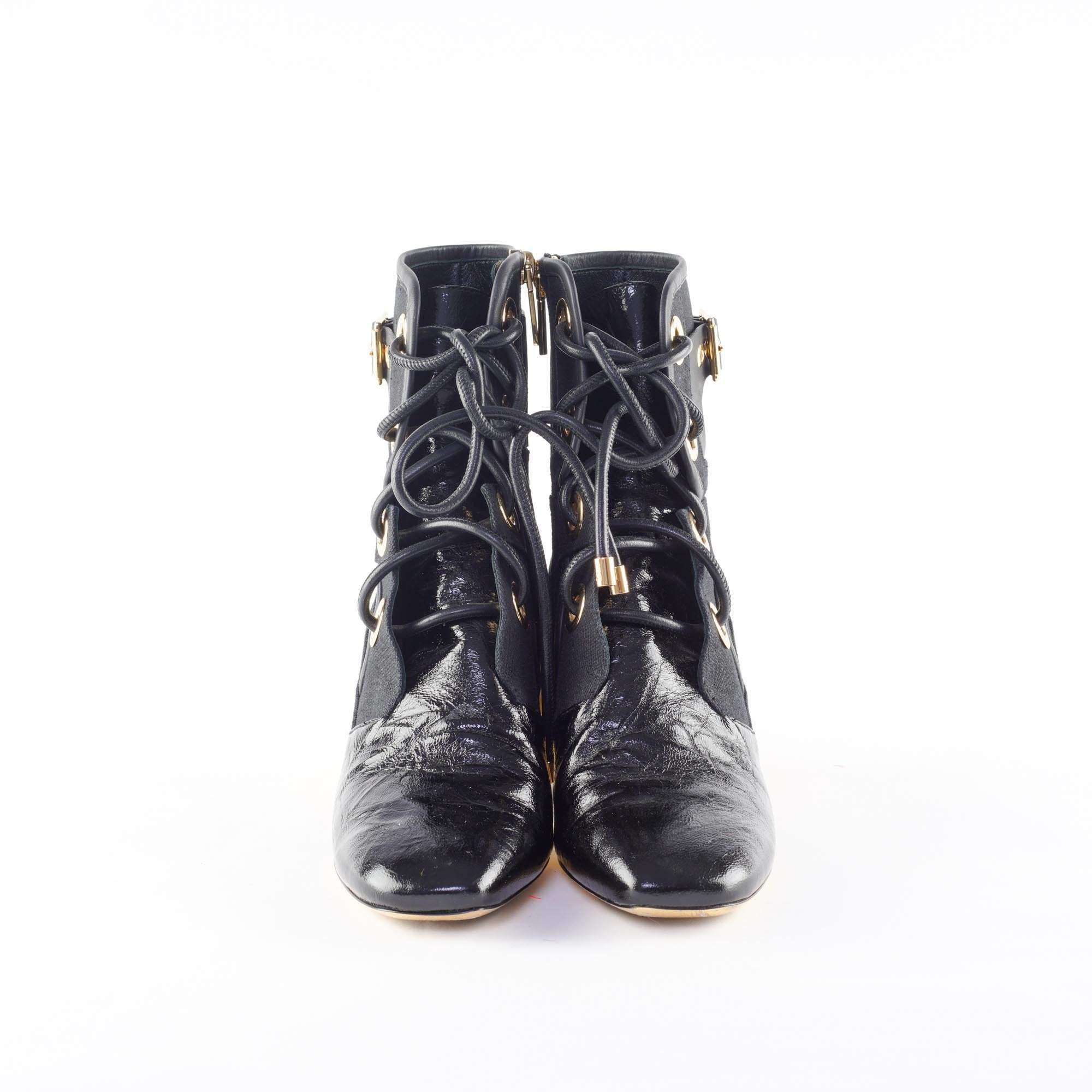 Christian Dior Black Glazed Calfskin Ankle Boot